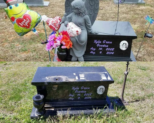 A stone angel was reported stolen from the grave of Kylie Grace Overton, a 5-year-old girl who died in 2014 of brain cancer. The family says the statue was likely stolen sometime between March 30 and April 10, 2019.