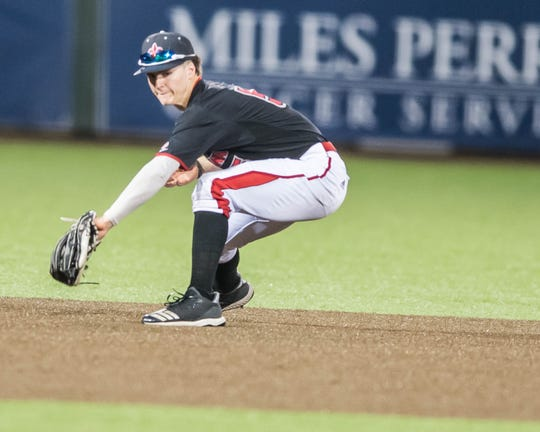 UL shortstop Hayden Cantrelle makes a back-handed grab as the Ragin' Cajuns play McNeese last April.