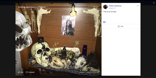 A Facebook post by St. Landry Parish church fires suspect Holden Matthews showing his altar to the Norse god Hel.