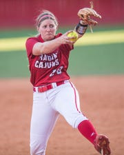 UL's Carrie Boswell gets the call to the circle as the Ragin' Cajuns play the Southeastern Louisiana Lions at Lamson Park Wednesday, April 10, 2019.