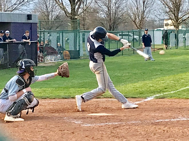 Lancaster's Evan Sines gets one of his three hits Wednesday against Pickerington Central. The Golden Gales improved to 10-0 after a 7-5 win. #eghss