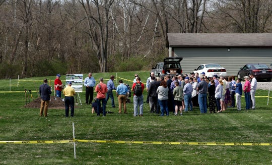 People gather at Hunter Park for the ceremonial ground breaking for an all-access playground. The Kiwanis Club of Lancaster is spearheading the fundraising effort to raise at least $300,000 for the playground. So far more than $230,000 has been raised.