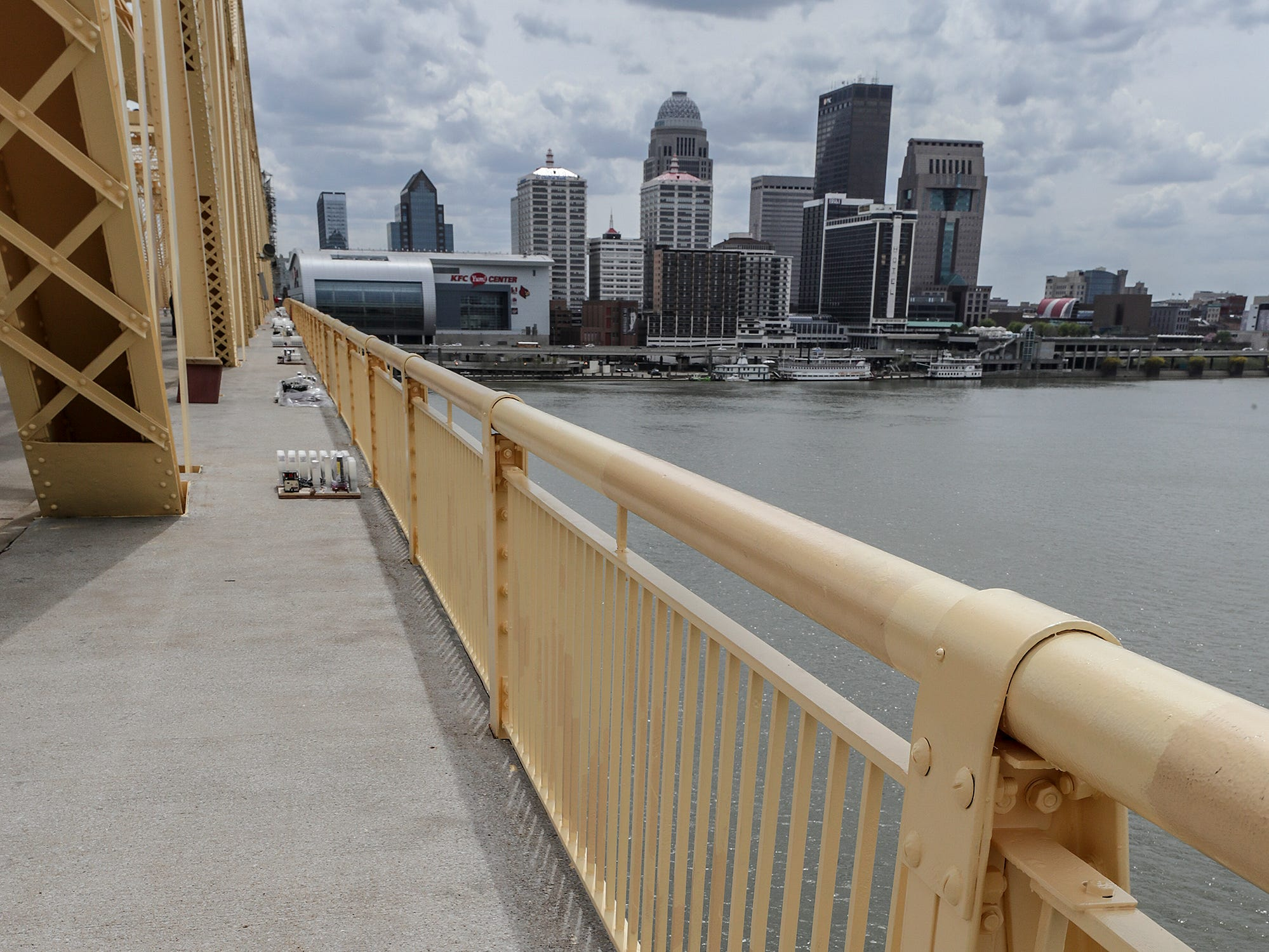 Crews from Zambelli have begun the process of placing fireworks along the Clark Memorial Bridge.  Dozens of spots with thousands of fireworks all timed to the Thunder Over Louisville soundtrack.