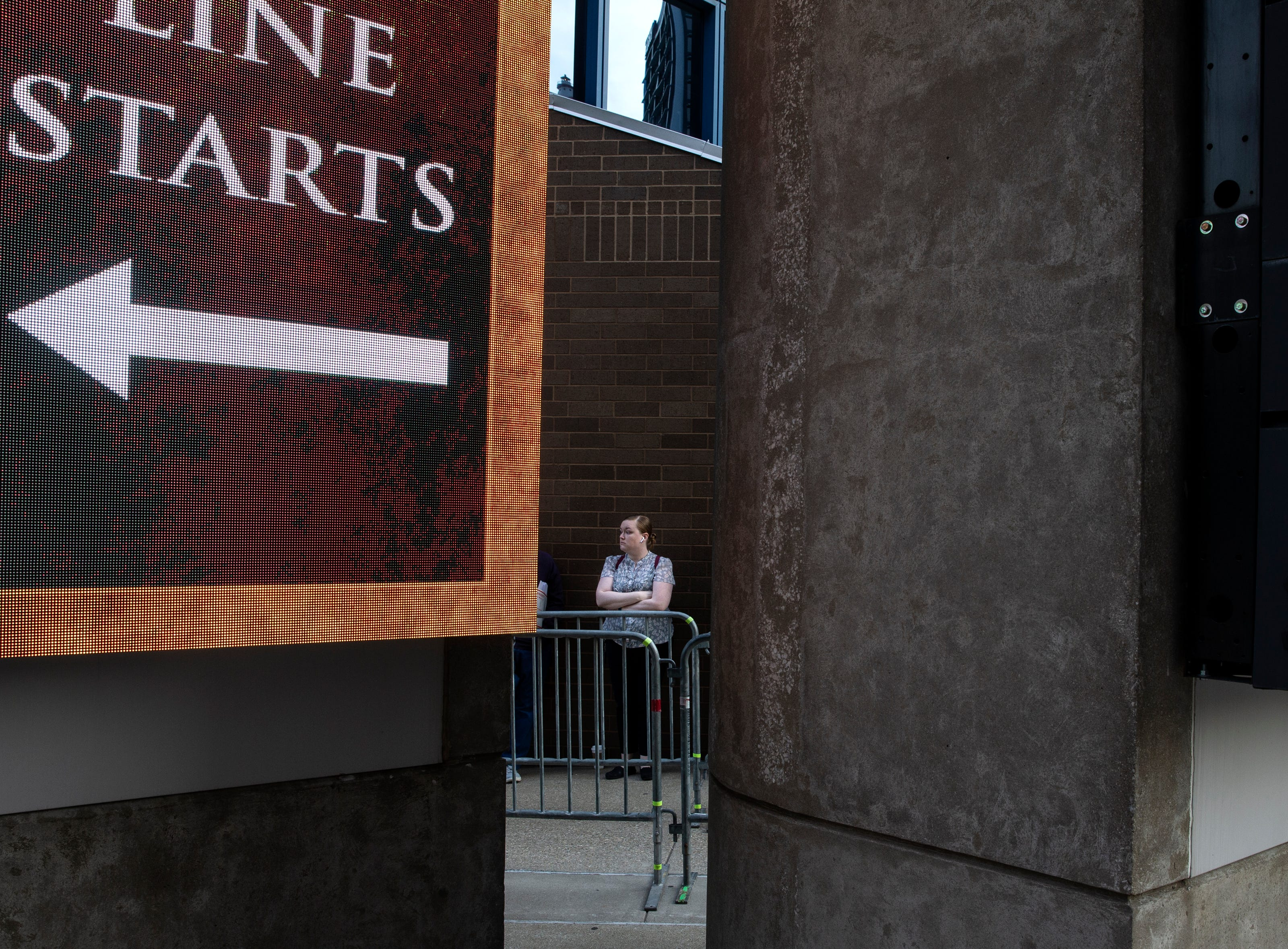 """Jude Warren waited in line for tickets to the play, """"Hamilton,"""" at the Kentucky Center for the Arts. April 11, 2019."""