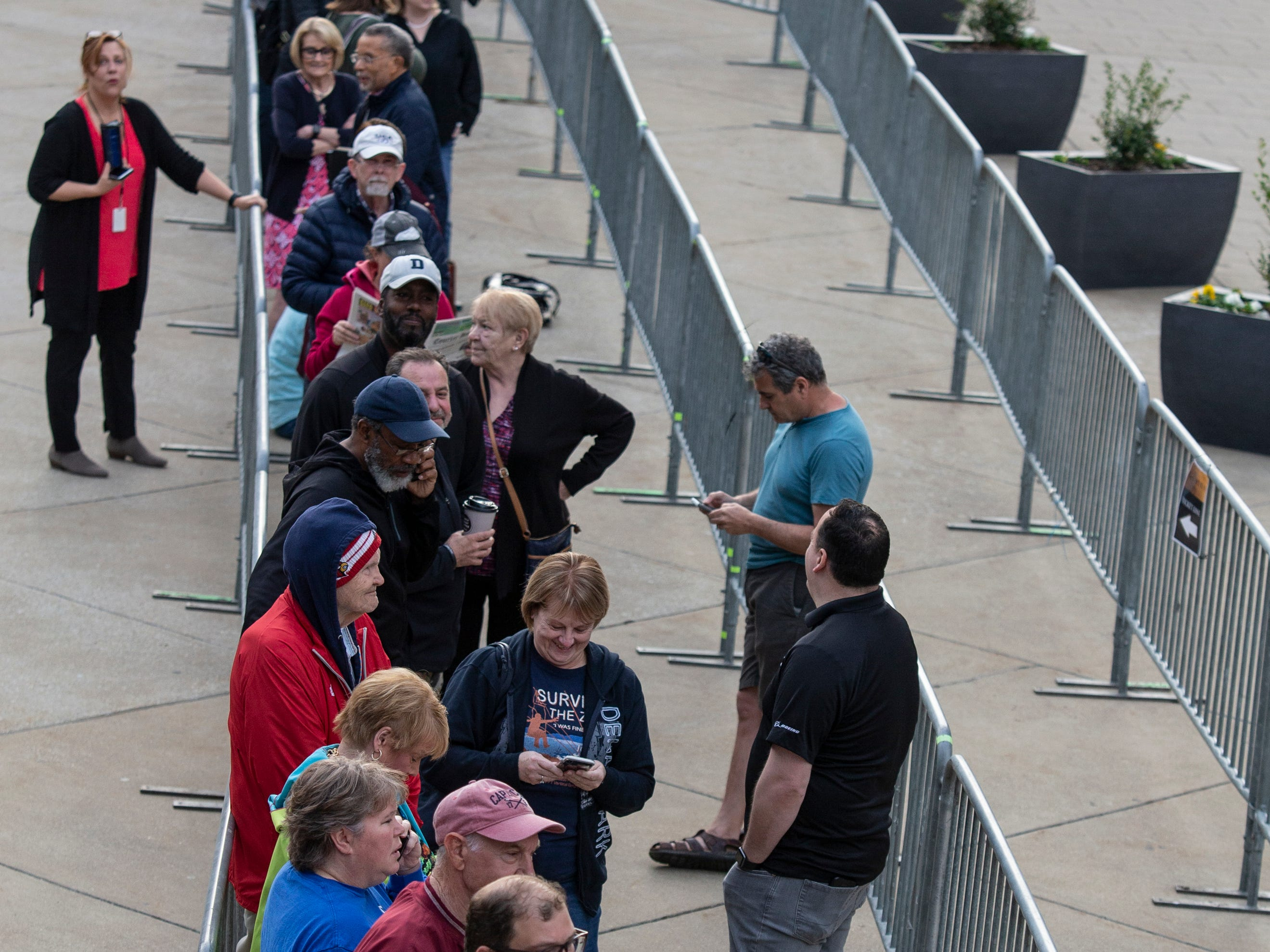 """People lined up for tickets to tbhe play """"Hamilton,"""" outside the Kentucky Center for the Arts. April 11, 2019"""