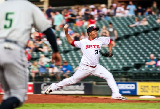 Keury Mella throws towards home during the Louisville Bats season opener Thursday night at Slugger Field. April 11, 2019