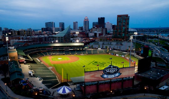Early morning over Louisville Slugger Field on April 11.