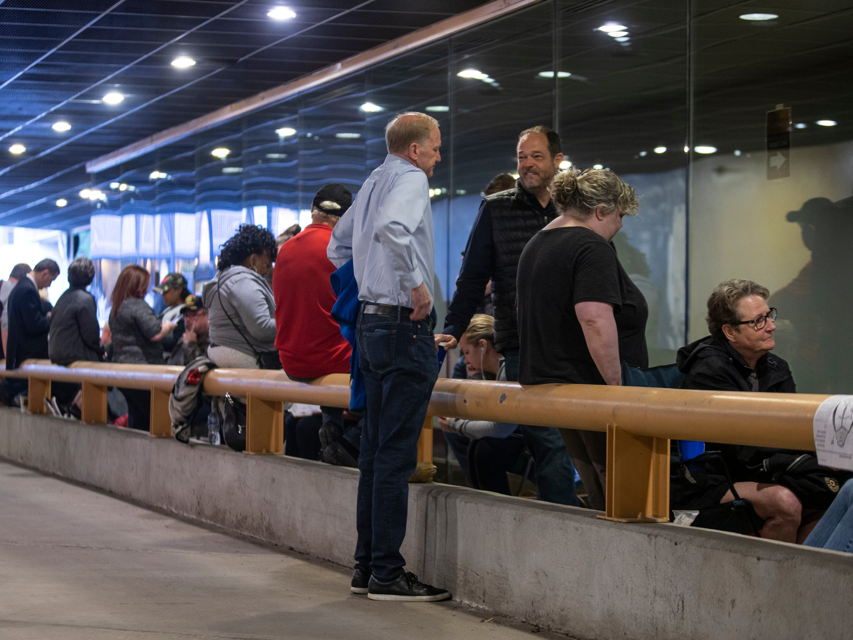"""Some of the first people to line up for tickets to the play, """"Hamilton,"""" at the Kentucky Center for the Arts. April 11, 2019."""