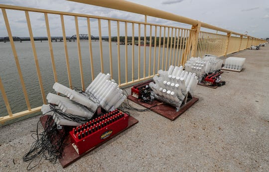 Fireworks along the bridge are ready to roll for Thunder Over Louisville 2019.