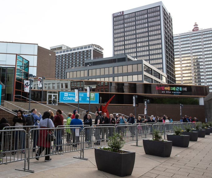 """The line at 9:00 a.m. in front to he Kentucky Center for the Arts, for tickets to the play, """"Hamilton."""" April 11, 2019."""
