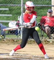 Plymouth's Mallory Miller is swinging a big bat lately helping the Lady Big Red to a division title in the MVD Invitational over the weekend and a No. 5 spot in the Richland County Softball Power Poll.