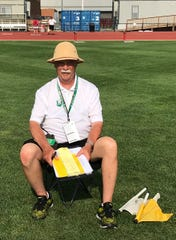 Head umpire Phil Horvath, a 1965 Mansfield Senior graduate, wore a pith helmet at last year's state meet to honor his predecessor, Fred Cope.