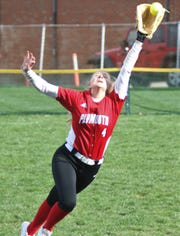 Plymouth's Mallory Miller makes a leaping catch in right field during the Lady Big Red's 8-5 win over Lucas on Wednesday.