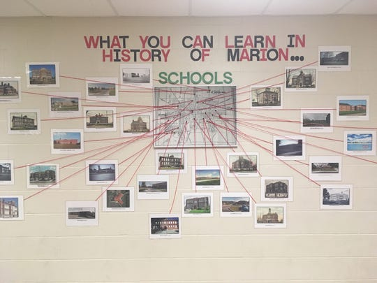 Brett McCrery created this display on the history of schools in Marion as part of his popular History of Marion class at Harding High School.