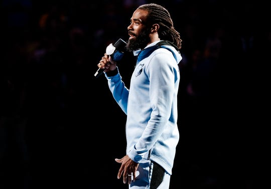 Memphis Grizzlies Mike Conley address the crowd during pre-game festivities before taking on the Golden State Warriors at the FedExForum in Memphis, Tenn., Wednesday, April 10, 2019.