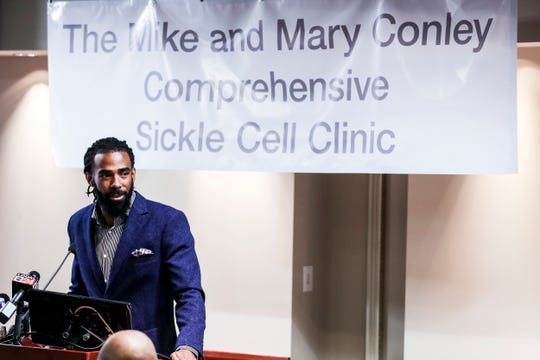April 11, 2019 - Memphis Grizzlies guard Mike Conley speaks after donating $500,000 to the Methodist Healthcare Comprehensive Sickle Cell Center. Conley helped make the announcement alongside Methodist executives on Thursday at Methodist University Hospital, where the center is located.