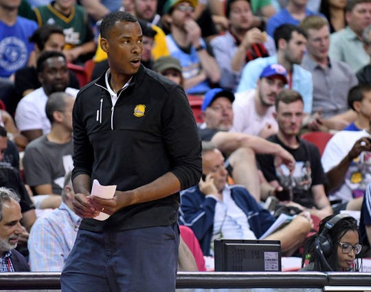Jarron Collins -- Here, Golden State Warriors Summer League head coach Jarron Collins walks the sidelines during a game in 2016 against the Philadelphia 76ers at Thomas & Mack Center.