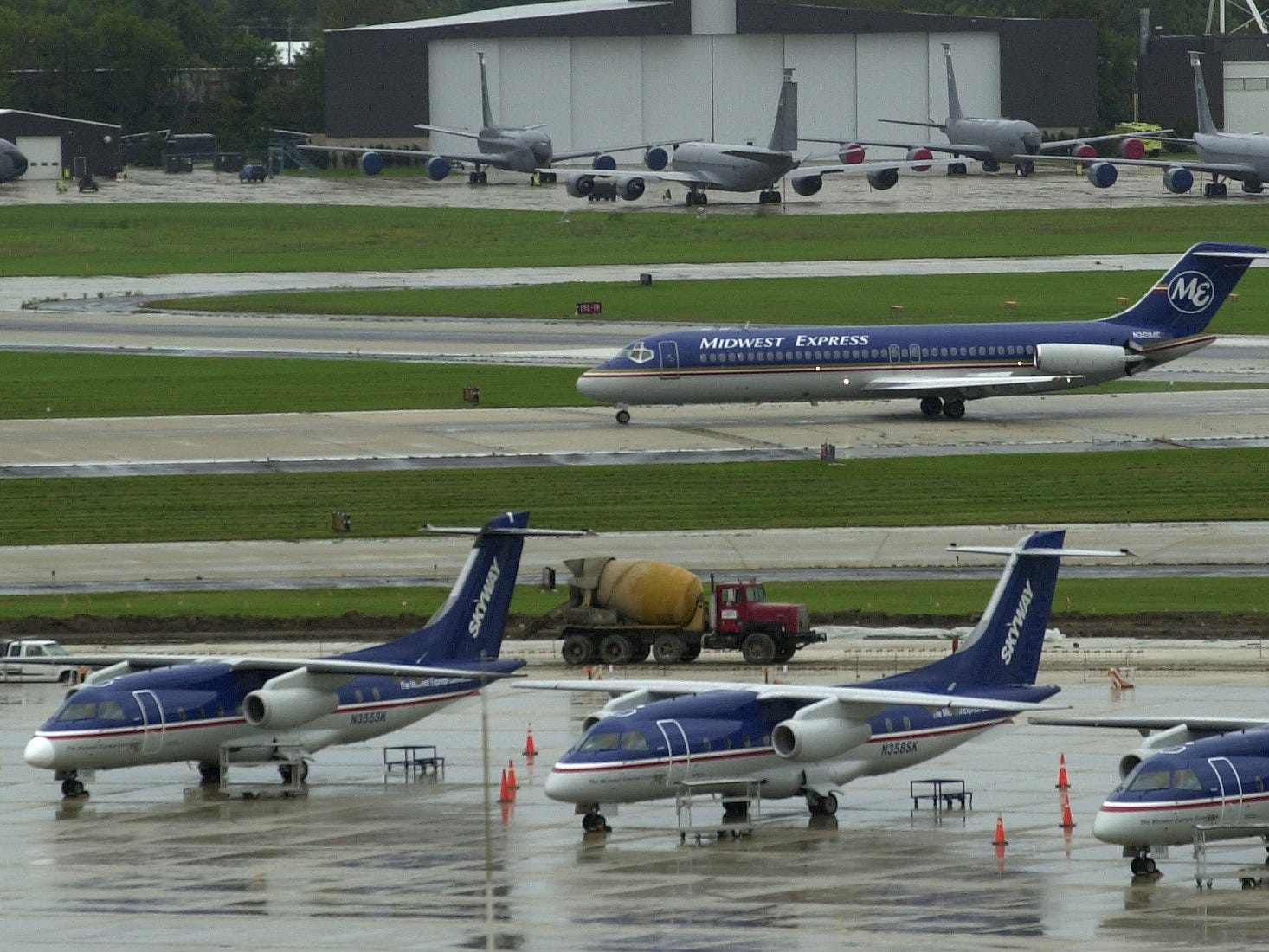 Midwest Express planes returned to General Mitchell International Airport in Milwaukee September 13, 2001 to restart regular service following the 9/11 attacks..