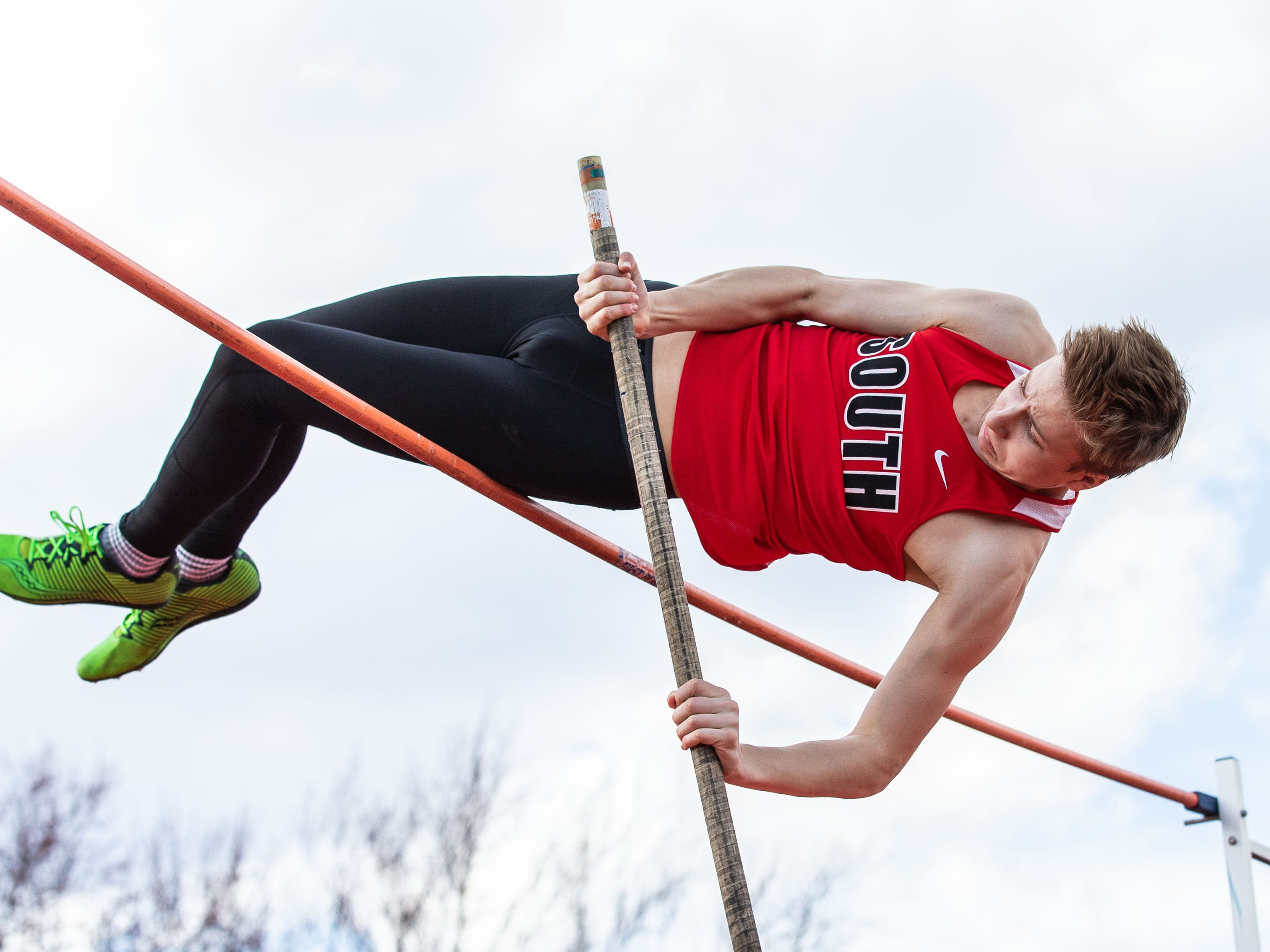 Waukesha South's Brendan Boyle competes in the pole vault during the Mike Gain 50th Annual Spartan Invitational at Brookfield East on Tuesday, April 9, 2019.