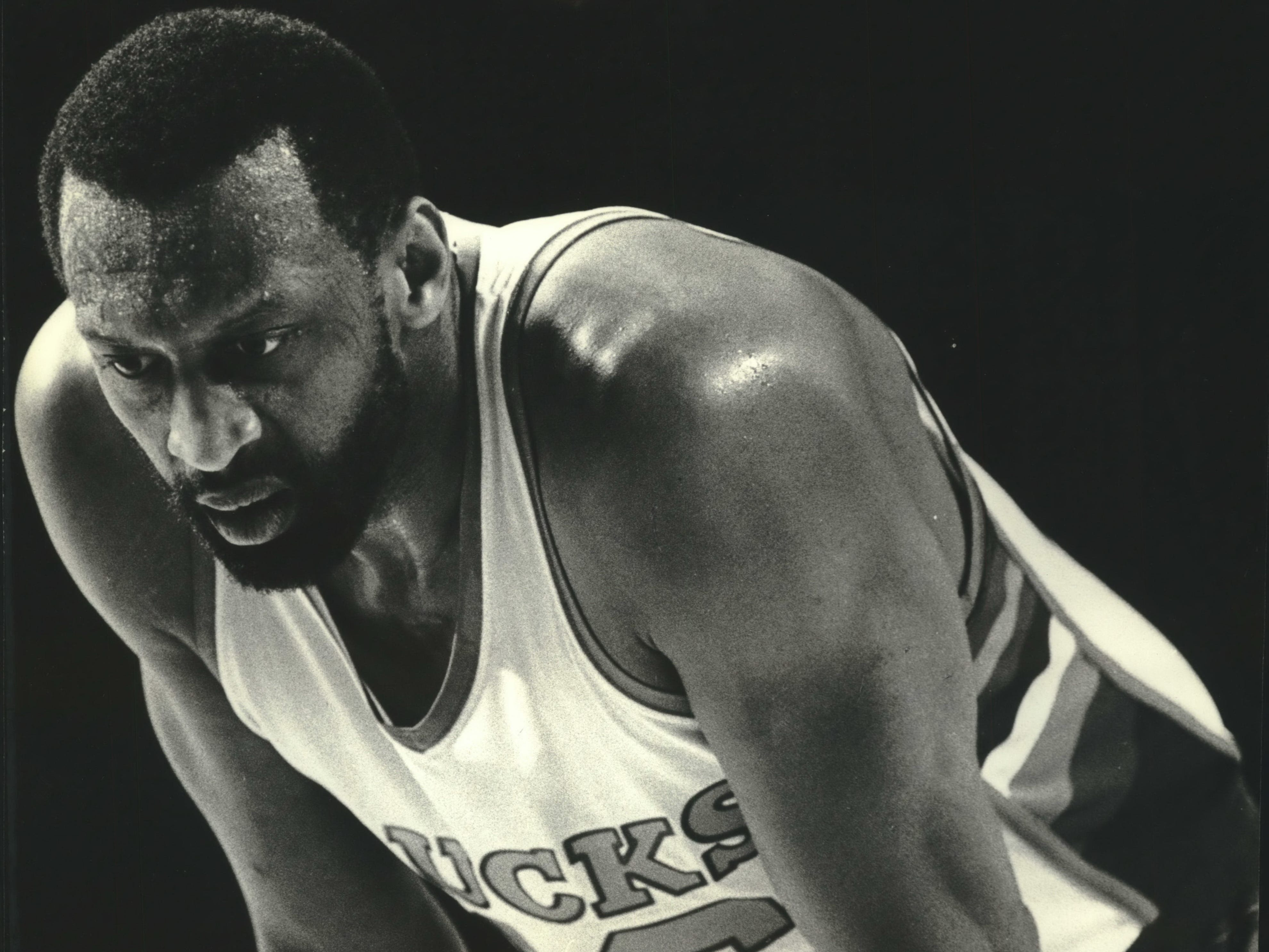 1982: The frustration and fatigue on Bucks center Bob Lanier's face says it all during Game 6 of the Eastern Conference Semifinals at the Milwaukee Arena against the Philadelphia 76ers on May 7, 1982. The Sixers beat the Bucks, 102-90, eliminating Milwaukee from the playoffs. This photo was published in the May 8, 1982, Milwaukee Journal.