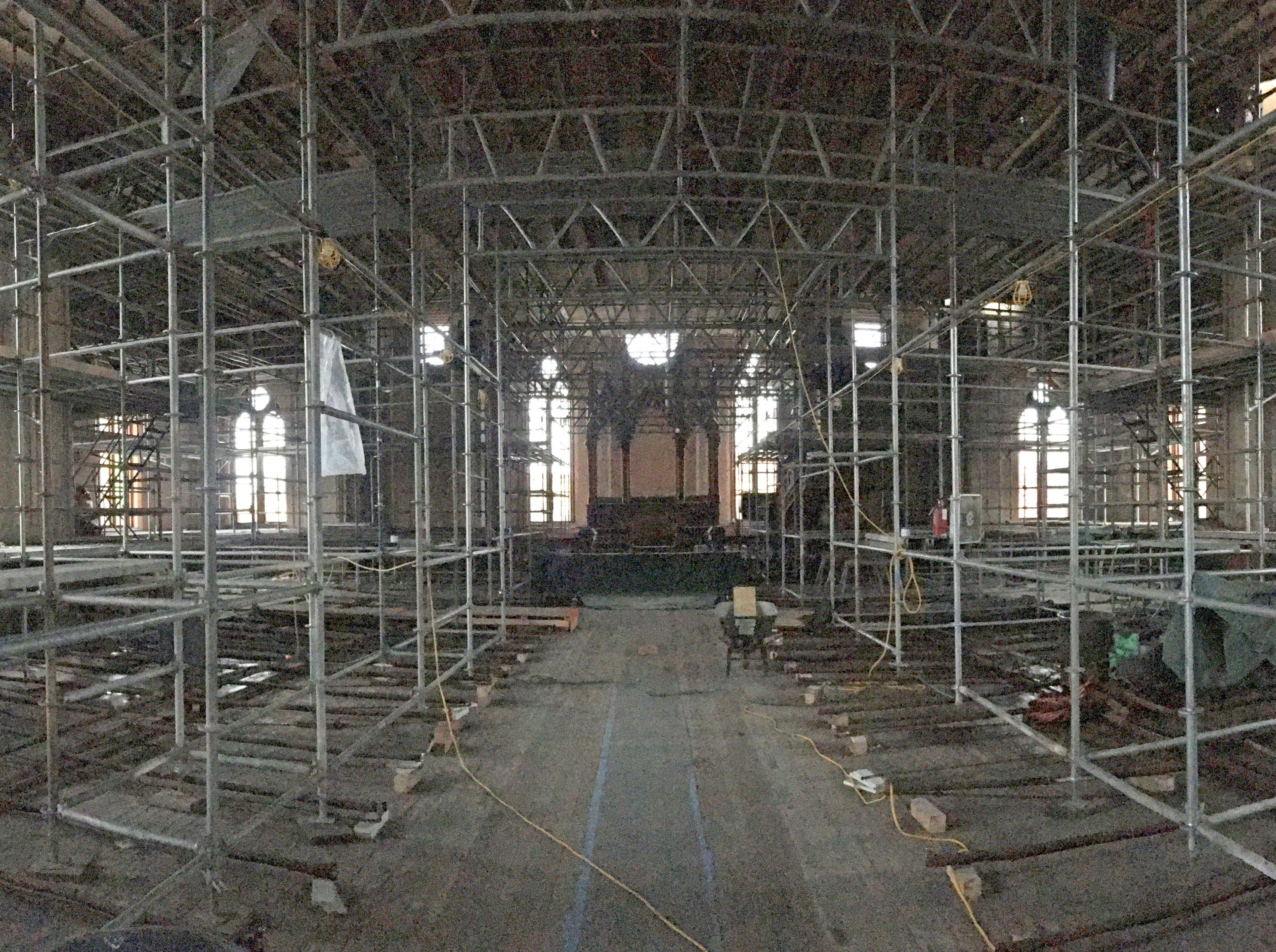 Scaffolding is in place in the chapel area at Trinity Evangelical Lutheran Church, The church is expected to be completed in two to three years.