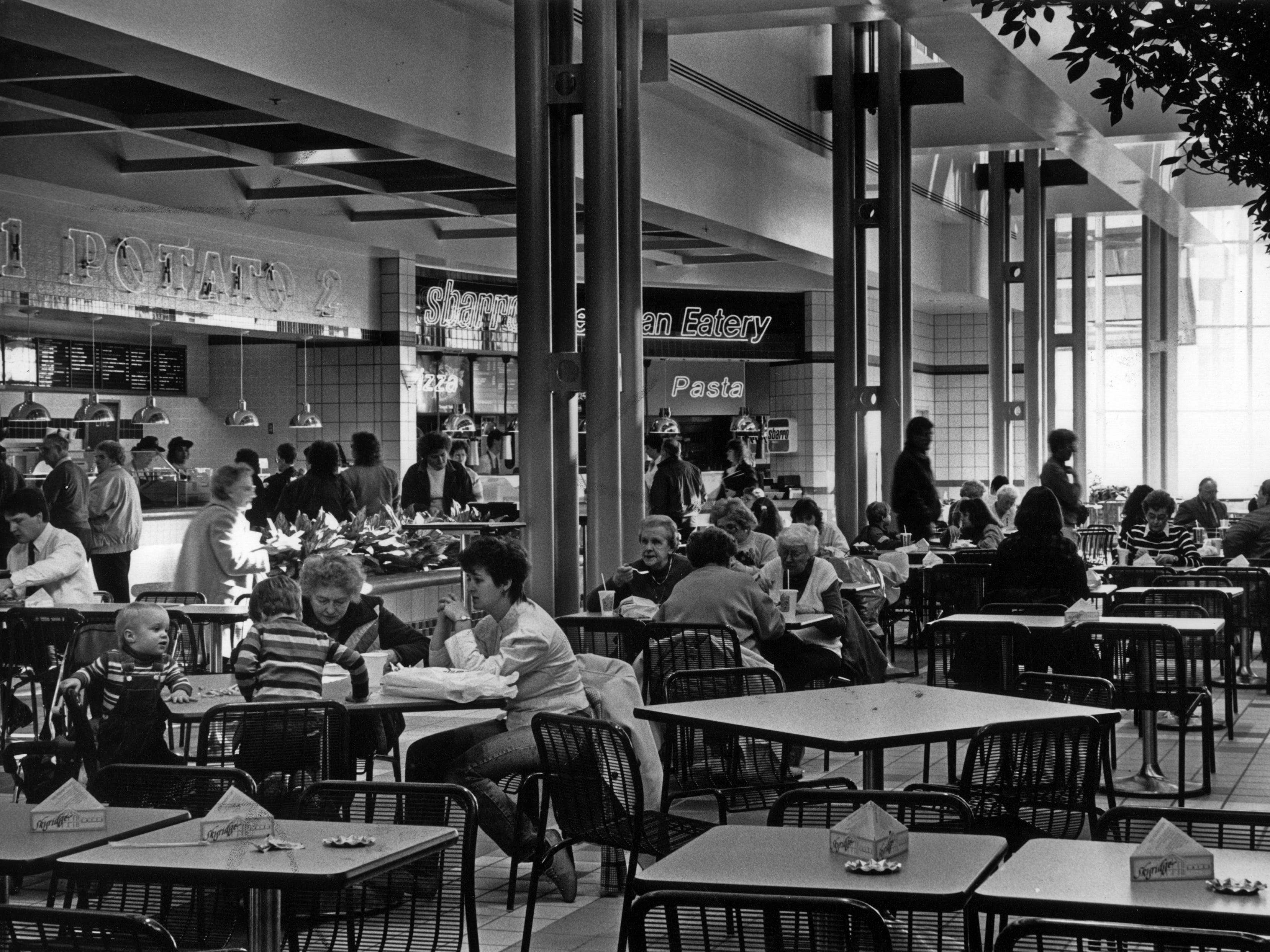 December 1988: Shoppers relax at the Northridge Mall food court.