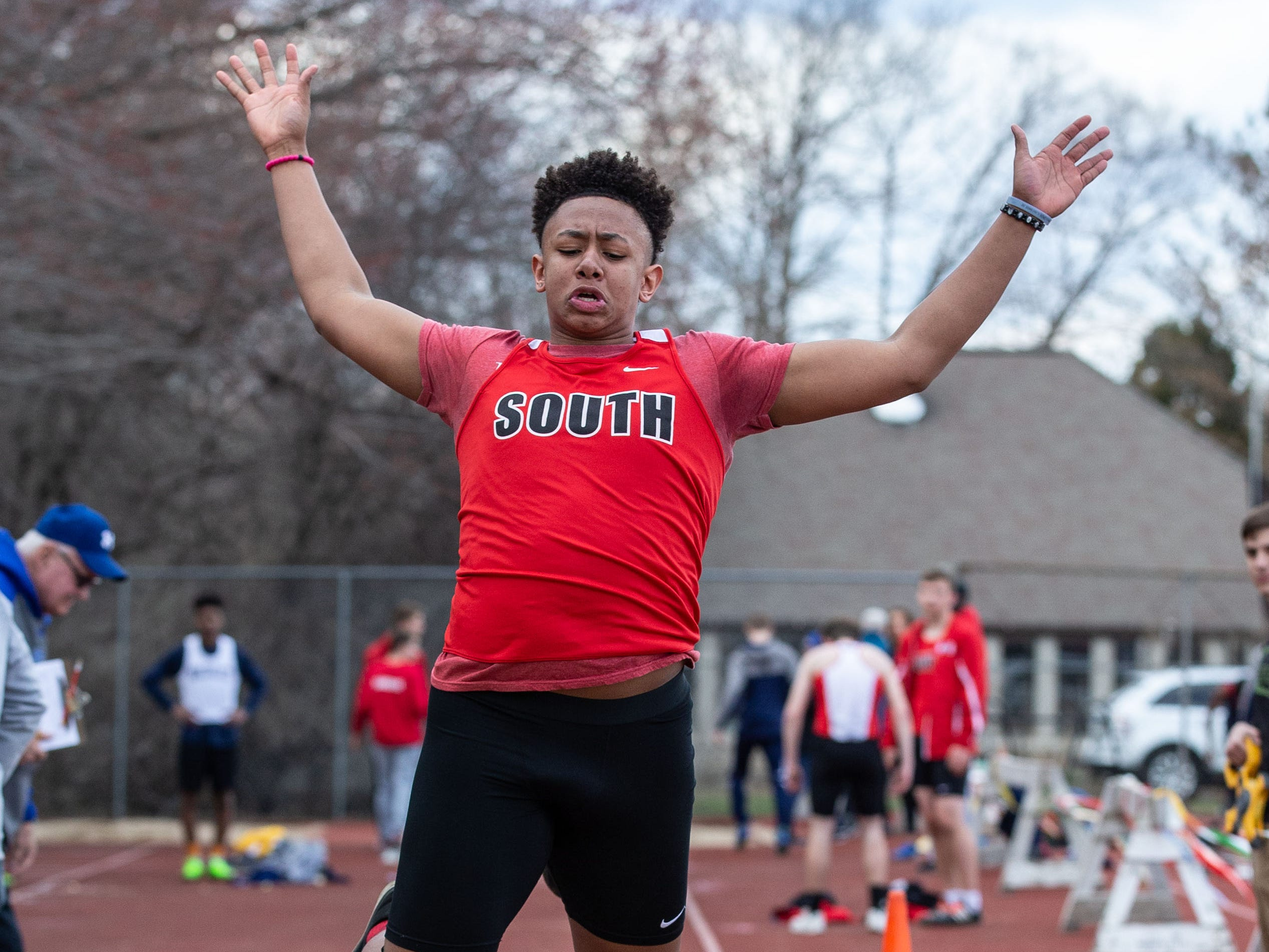 Waukesha South's Artavien Terry competes in the triple jump during the Mike Gain 50th Annual Spartan Invitational at Brookfield East on Tuesday, April 9, 2019.