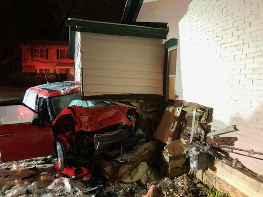 A car crashed into this house in the 5400 block of Mohawk Avenue on Wednesday, April 10.