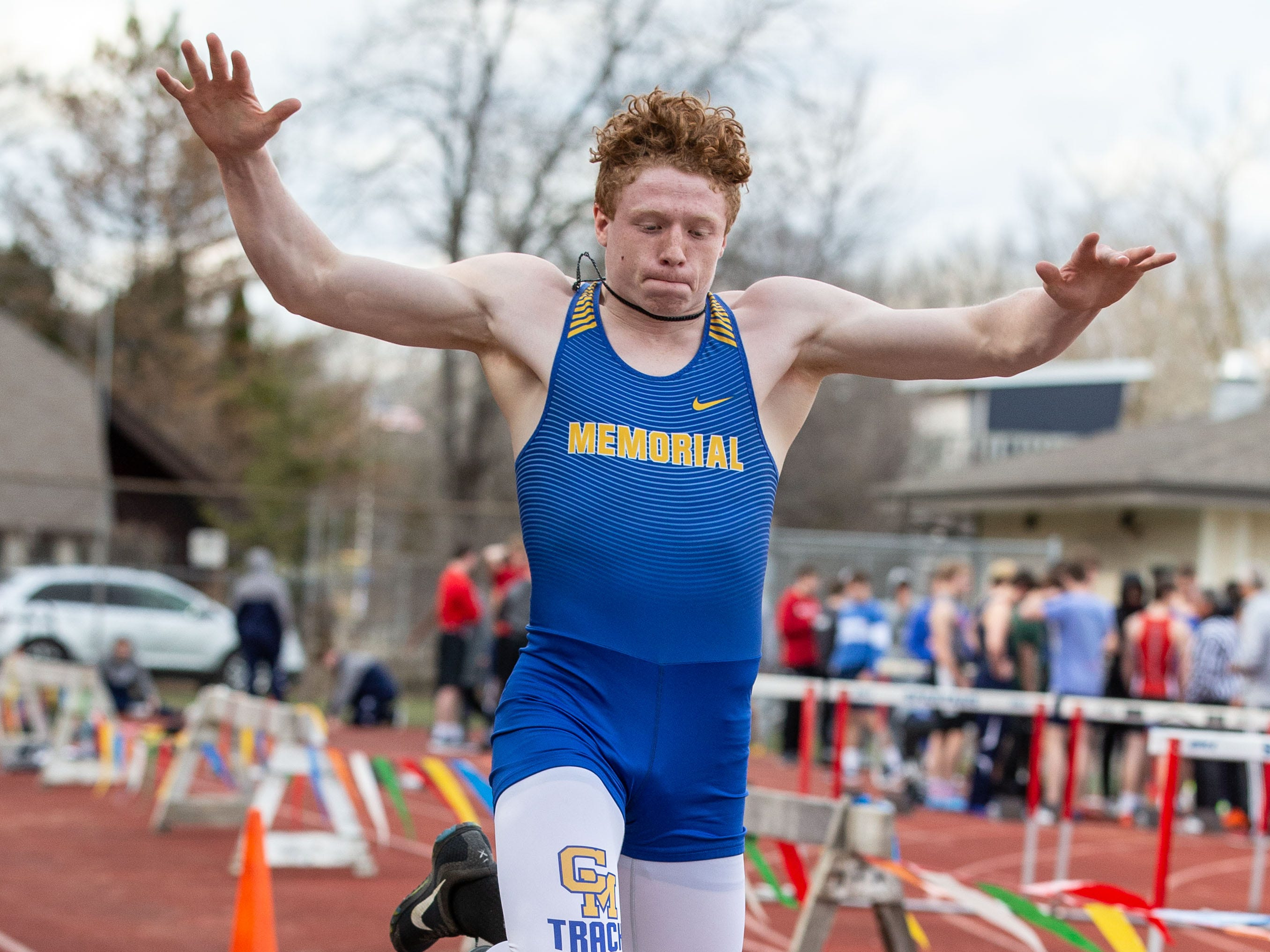 Catholic Memorial's Brian Flanagan competes in the triple jump during the Mike Gain 50th Annual Spartan Invitational at Brookfield East on Tuesday, April 9, 2019. Flanagan won the event with a jump of 40-11.00.