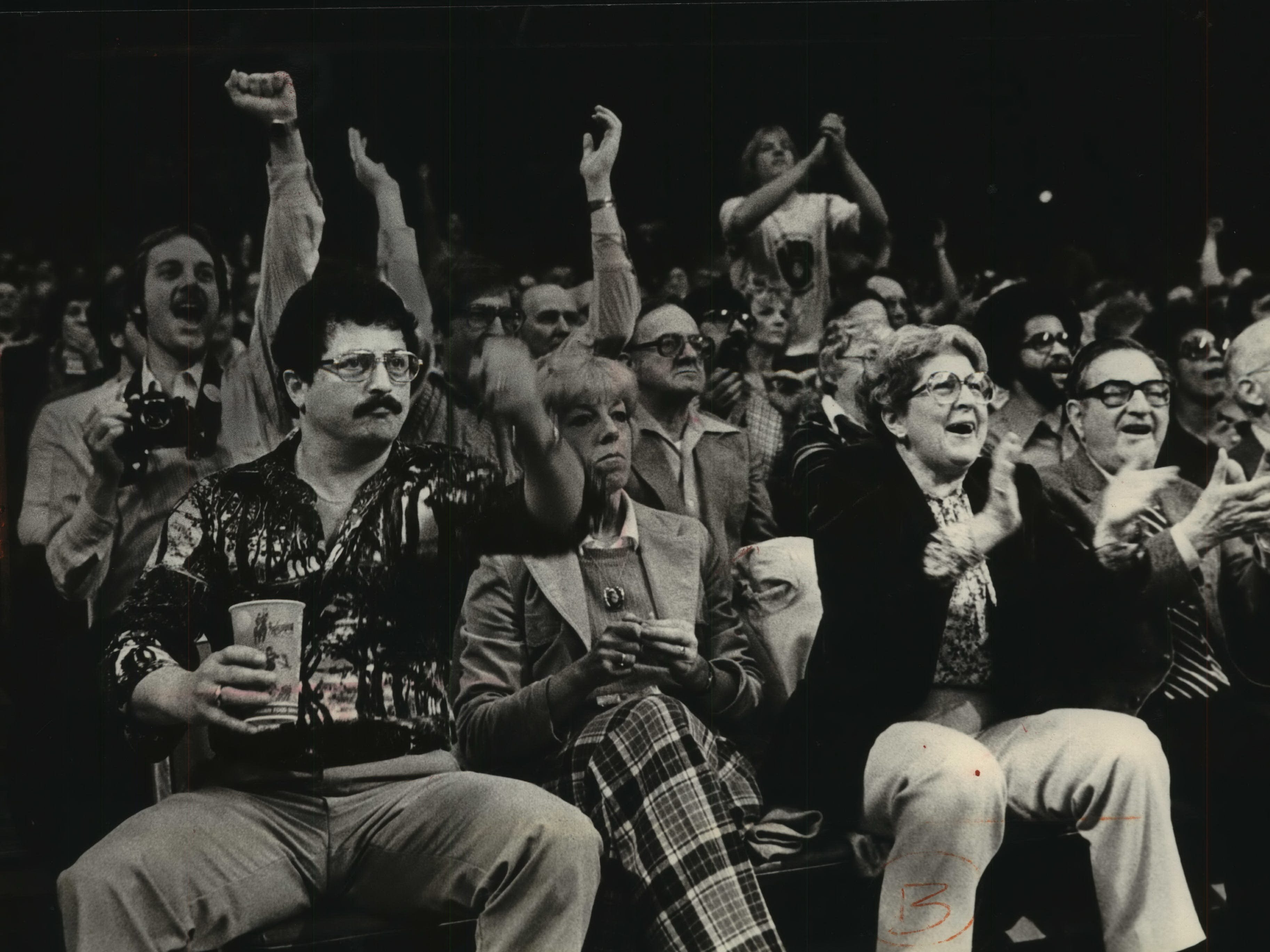 1980: Fans pack the 10,938-person-capacity Milwaukee Arena for a Western Conference Semifinals game between the Bucks and the Seattle Supersonics. Although the Bucks had a first-round bye, they lost to the Sonics in seven games. This photo was published in the April 13, 1980, Milwaukee Journal.