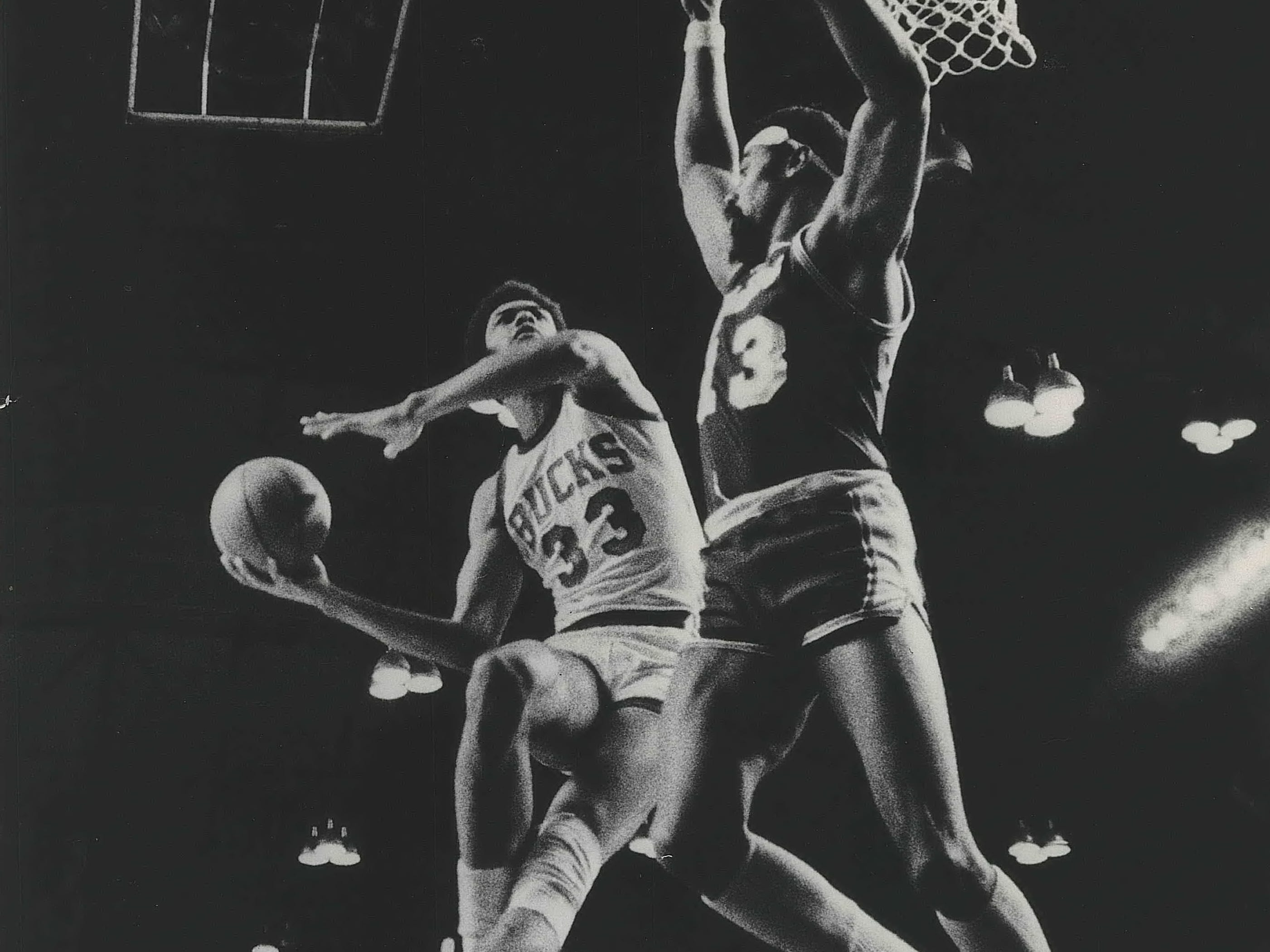 1972: Bucks star Kareem Abdul-Jabbar maneuvers for a shot over Lakers legend Wilt Chamberlain during Game 6 of the Western Conference finals on April 22, 1972.  Los Angeles defeated Milwaukee, 104-100, eliminating the Bucks from the playoffs. This photo was published in the April 24, 1972, Milwaukee Journal.
