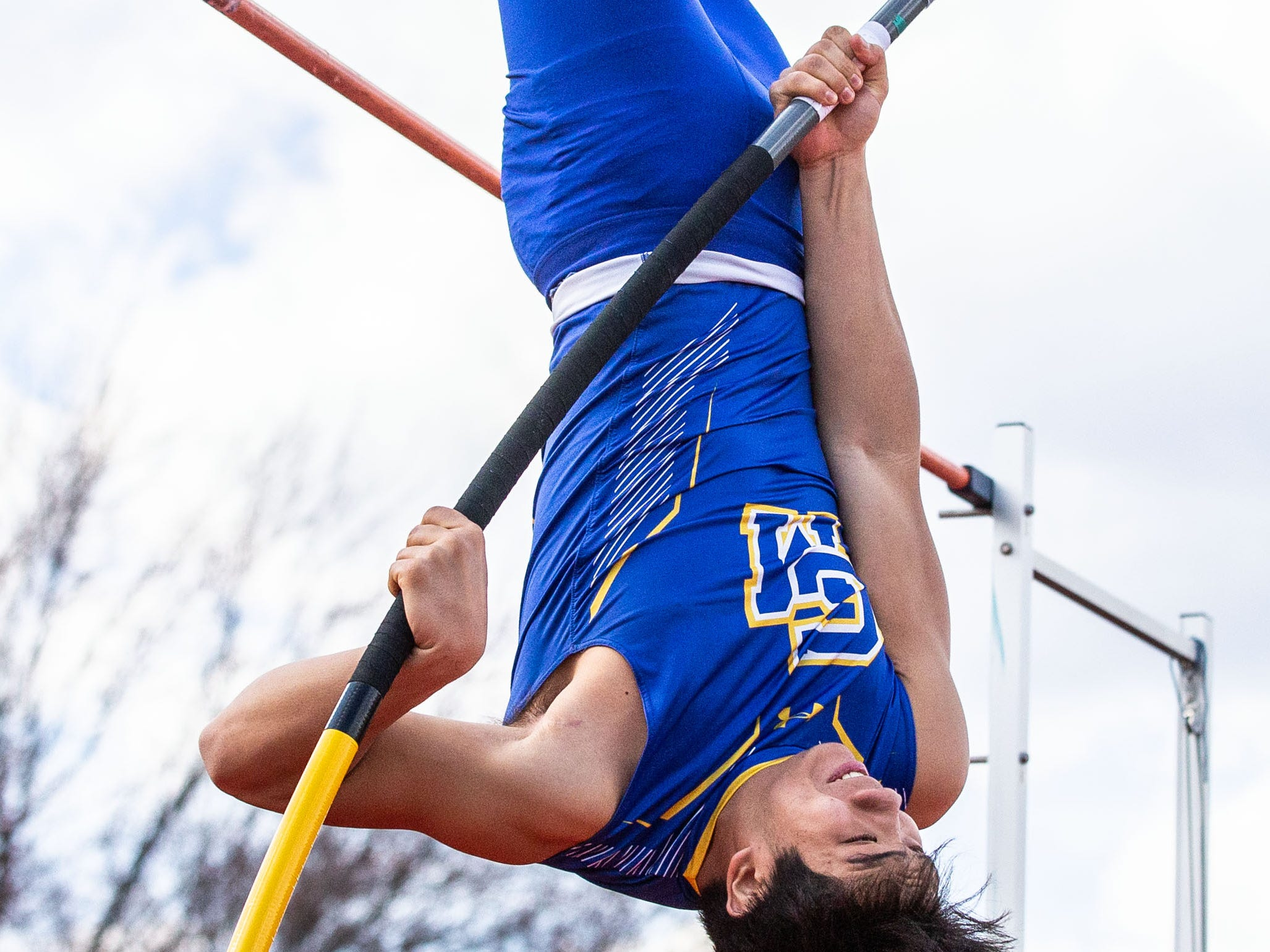 Catholic Memorial's Will Rothmeier competes in the pole vault during the Mike Gain 50th Annual Spartan Invitational at Brookfield East on Tuesday, April 9, 2019.