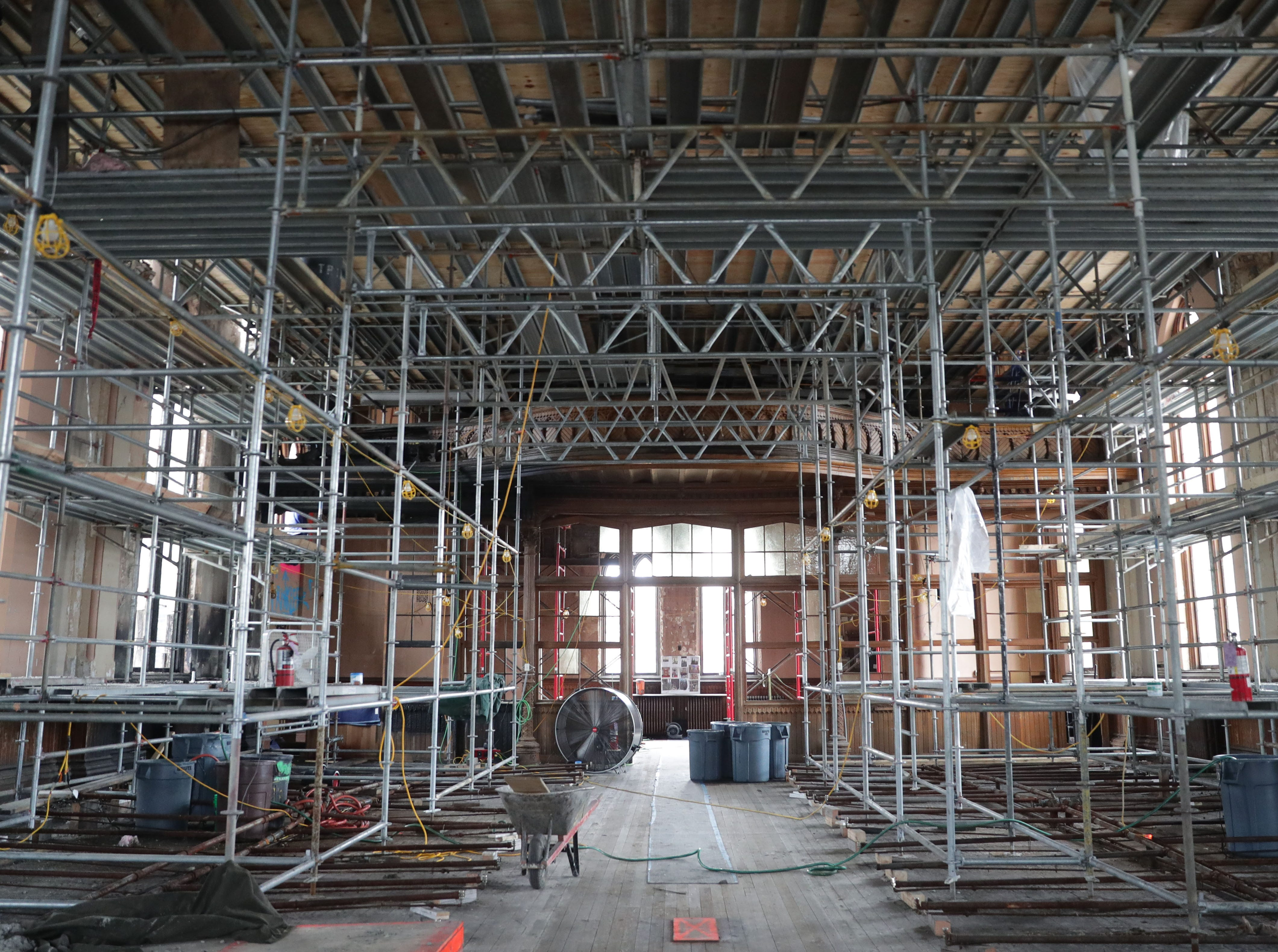 Scaffolding is in place in the chapel area looking towards the entrance.