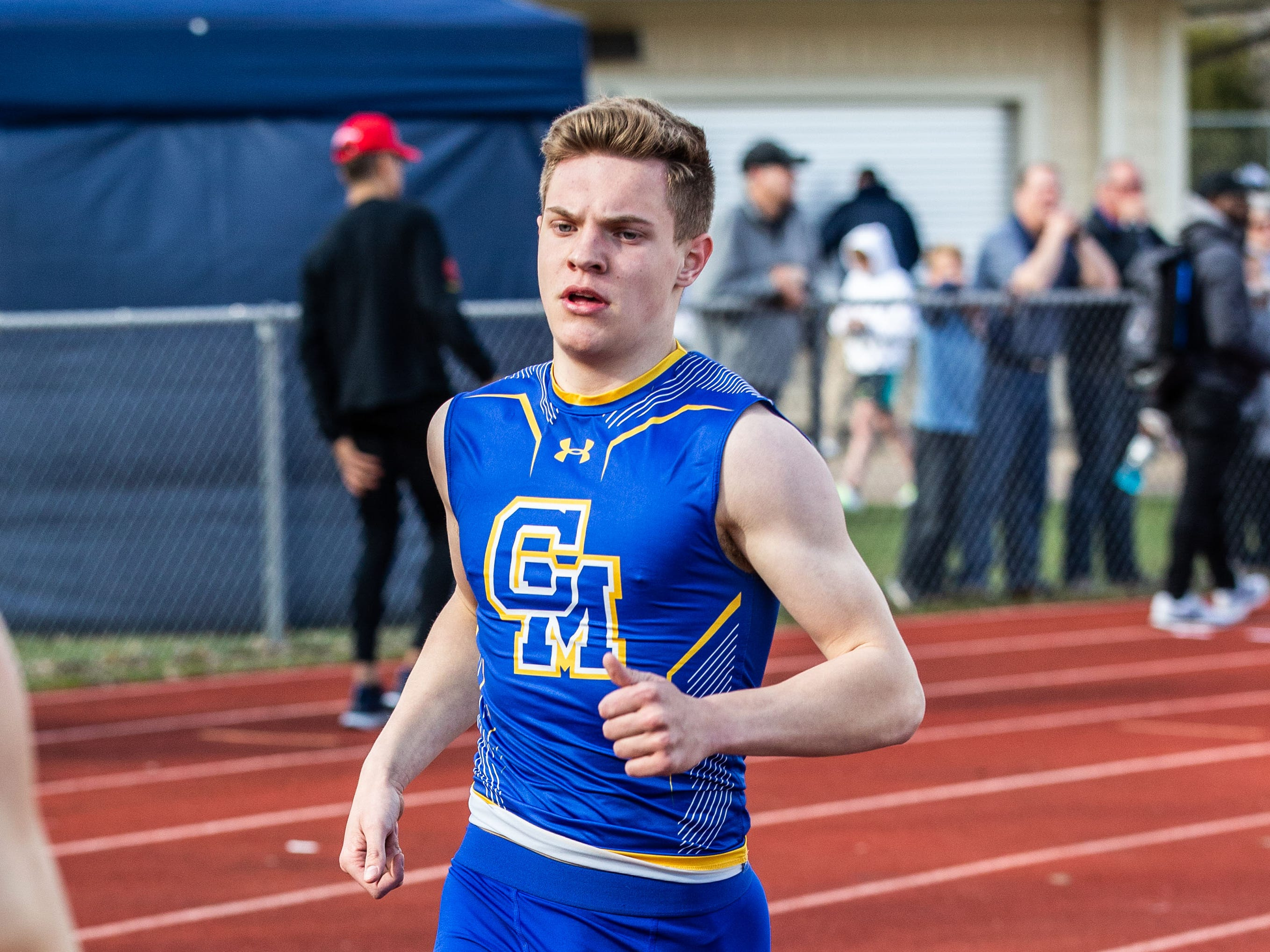 Catholic Memorial's Joe Bisswurm competes in the 1600 meter run during the Mike Gain 50th Annual Spartan Invitational at Brookfield East on Tuesday, April 9, 2019.