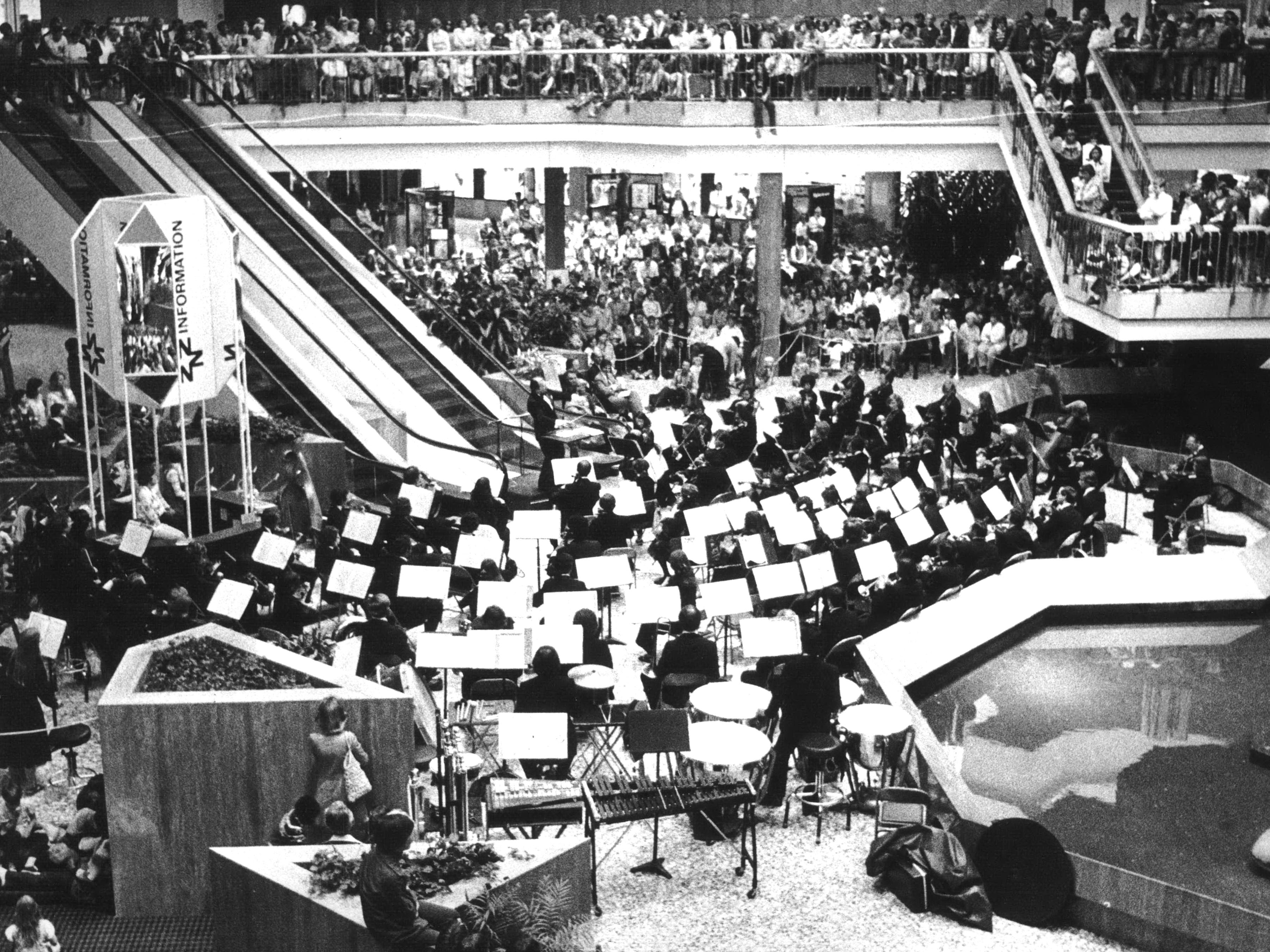 June 1977: Shoppers were pleasantly distracted by the Milwaukee Symphony Orchestra at Northridge Mall.