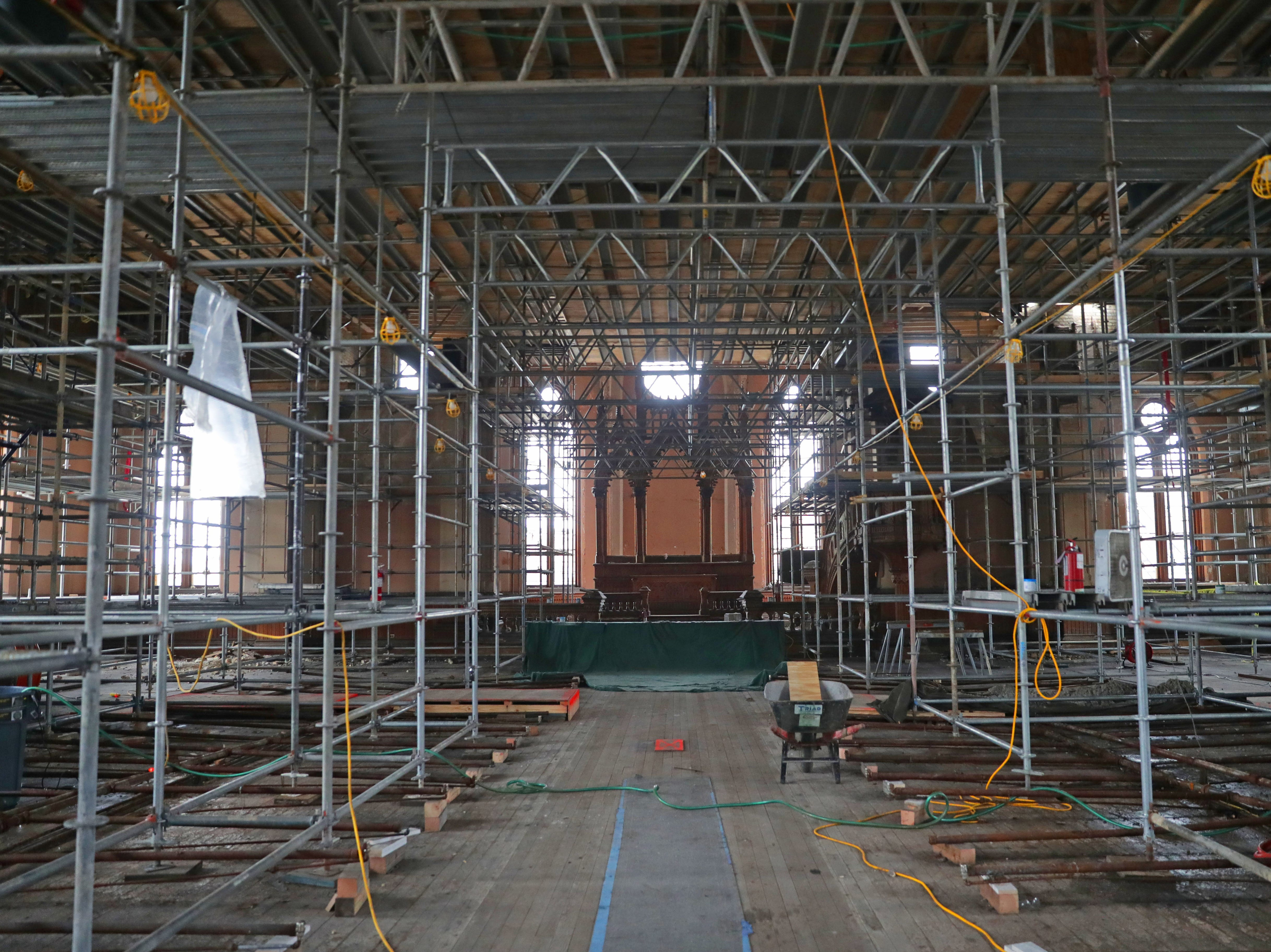 Scaffolding is in place in the chapel area at Trinity Evangelical Lutheran Church in Milwaukee. Work is being done to restore  the church near the corner of West Highland Avenue and North 9th Street after it was destroyed by fire in May of 2018.