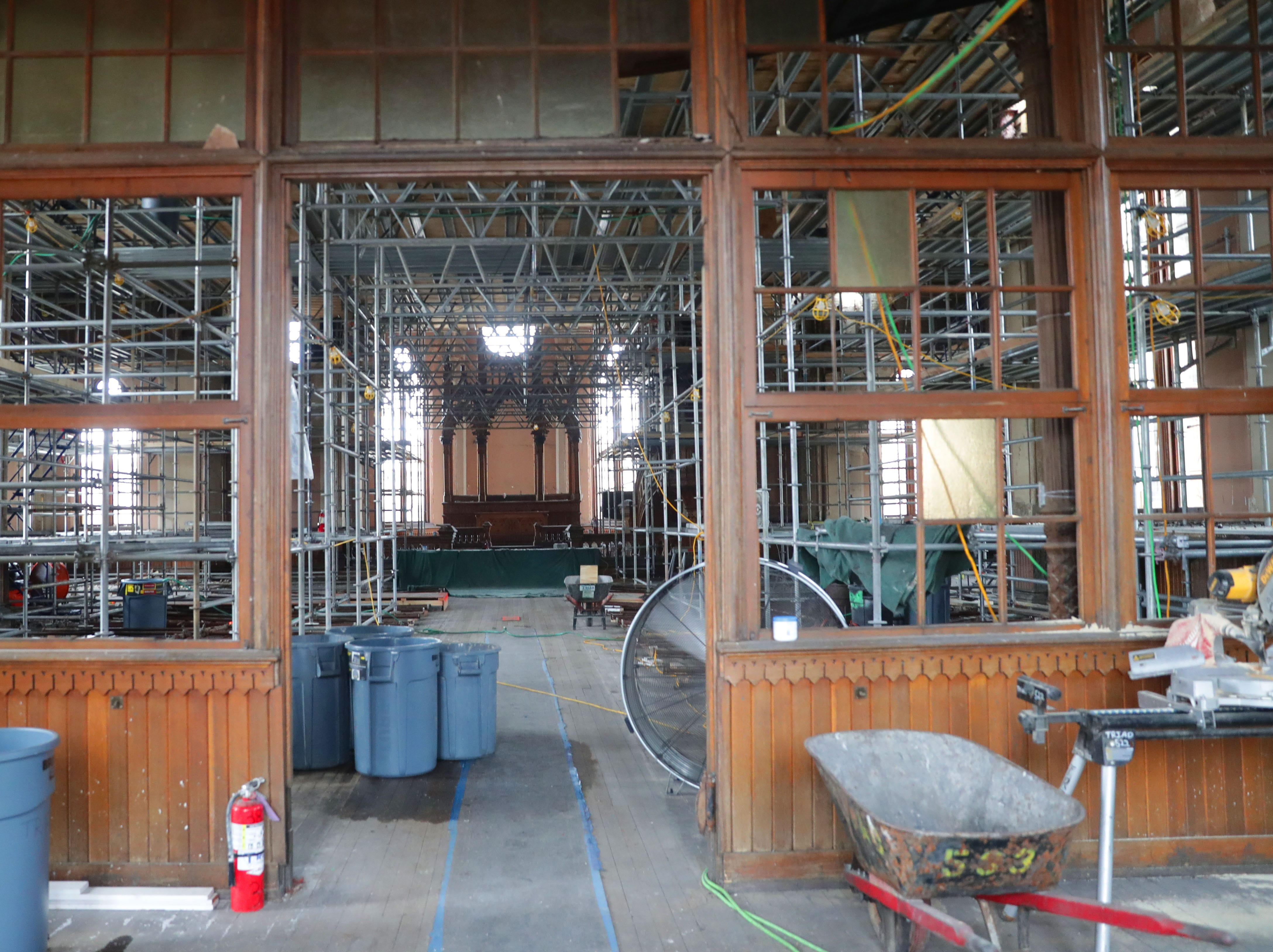 Scaffolding is in place in the chapel area at Trinity Evangelical Lutheran Church.