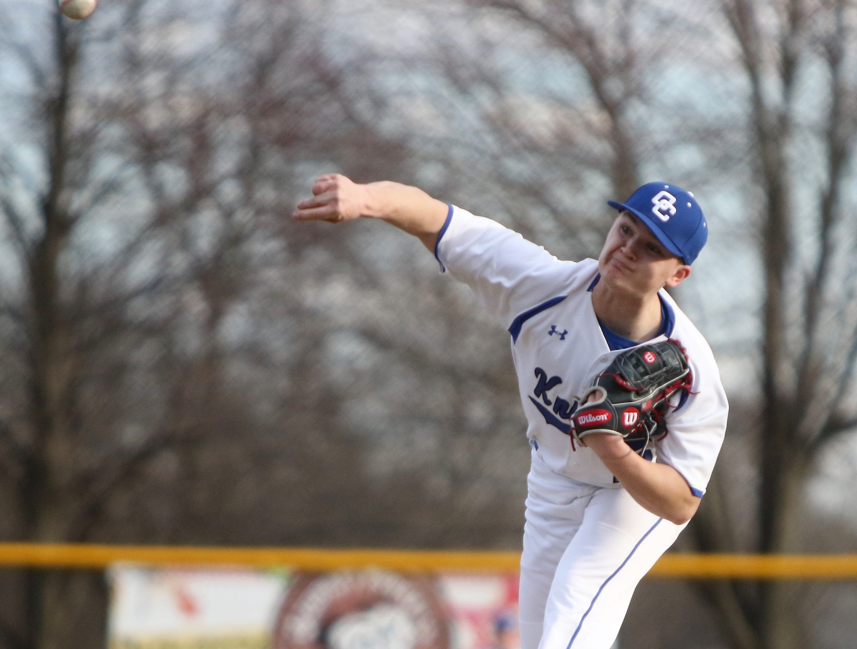 Oak Creek pitcher Jake Thoresen delivers a pitch against Kenosha Bradford on April 9, 2019.