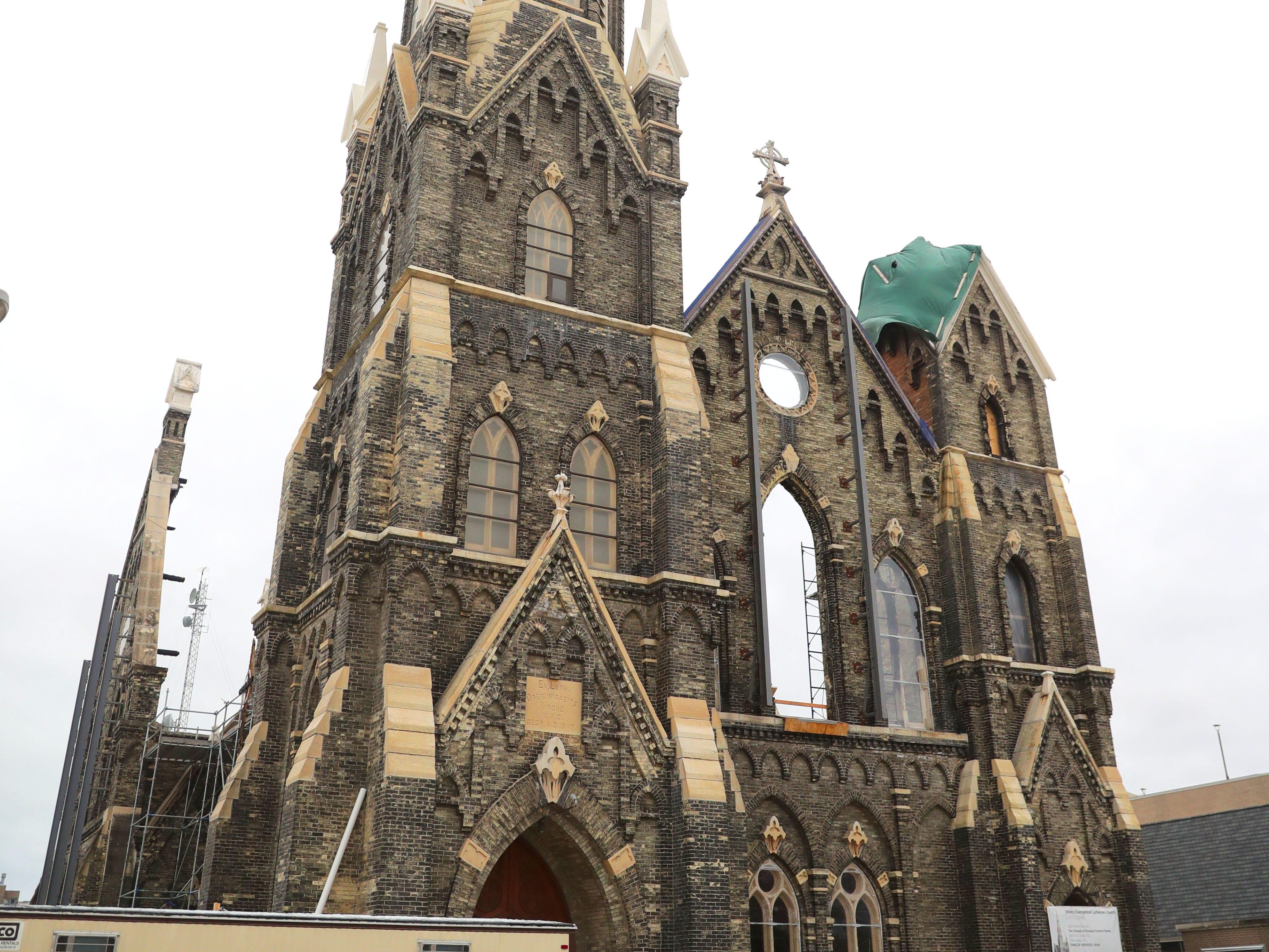 Restoration work is done at Trinity Evangelical Lutheran Church.