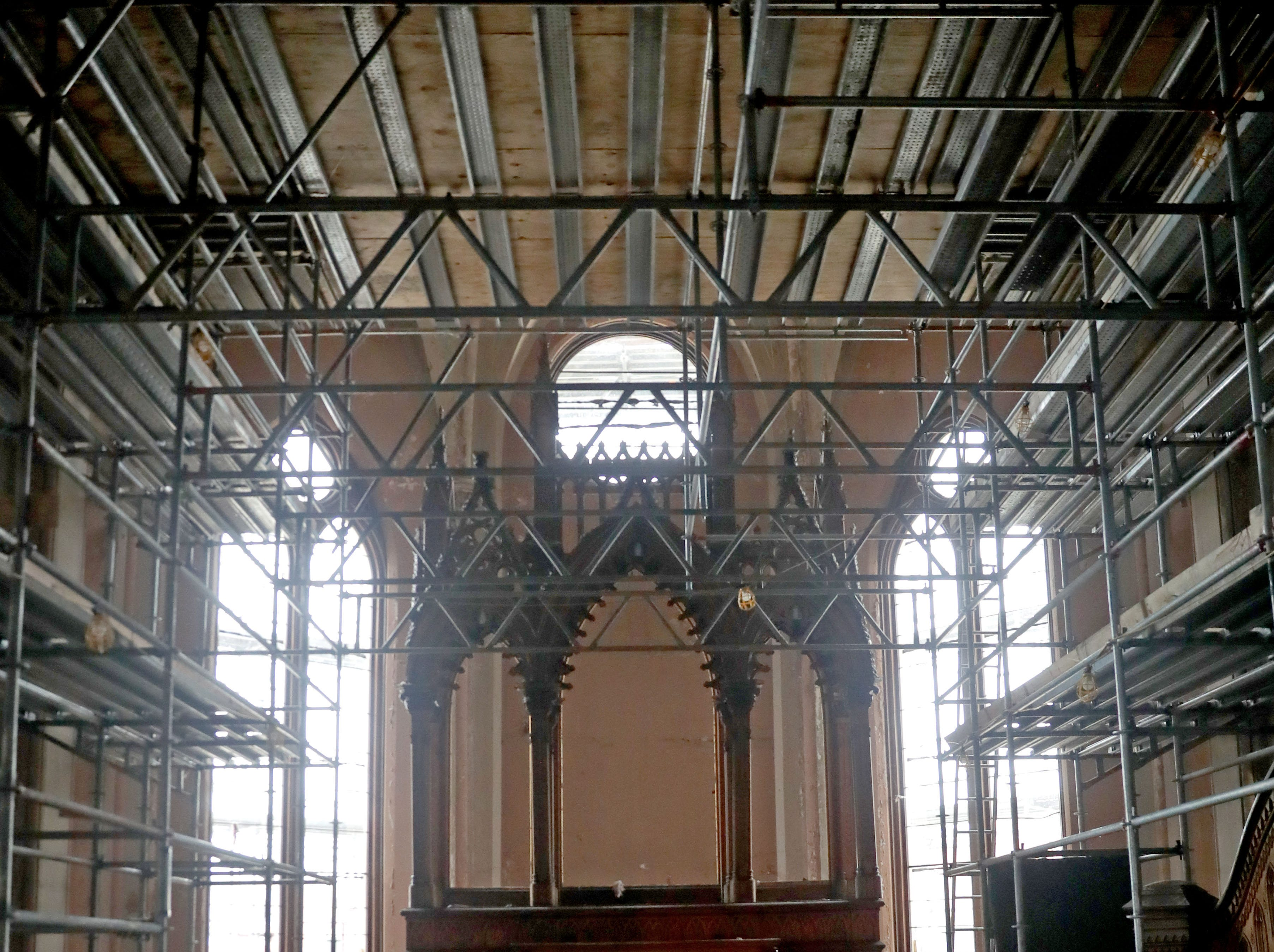 Scaffolding is in place in the chapel area.