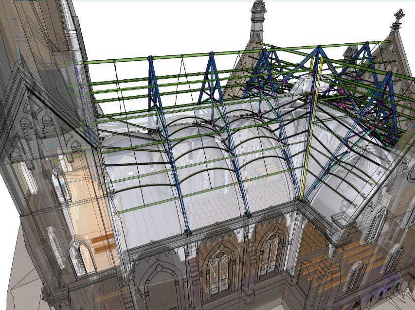 A computerized integrated design shows the steel work that will go into place in May at Trinity Evangelical Lutheran Church. The next major milestone in the reconstruction process will take place in May when the steel roof will go up. The church is expected to be completed in two to three years.