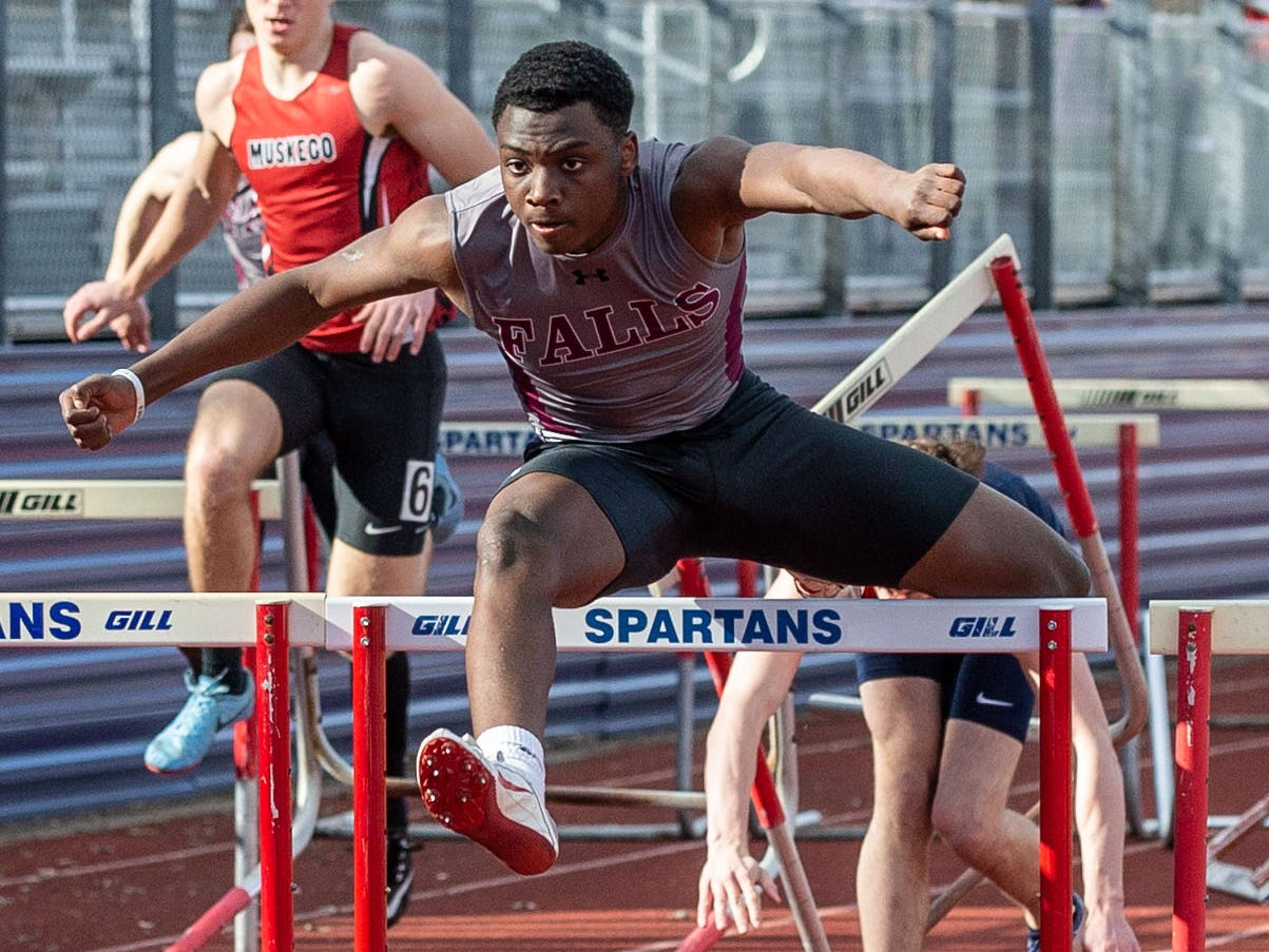 Menomonee Falls' Tamir Thomas competes in the 110 meter hurdles during the Mike Gain 50th Annual Spartan Invitational at Brookfield East on Tuesday, April 9, 2019. Thomas won the event with a time of 15.23.
