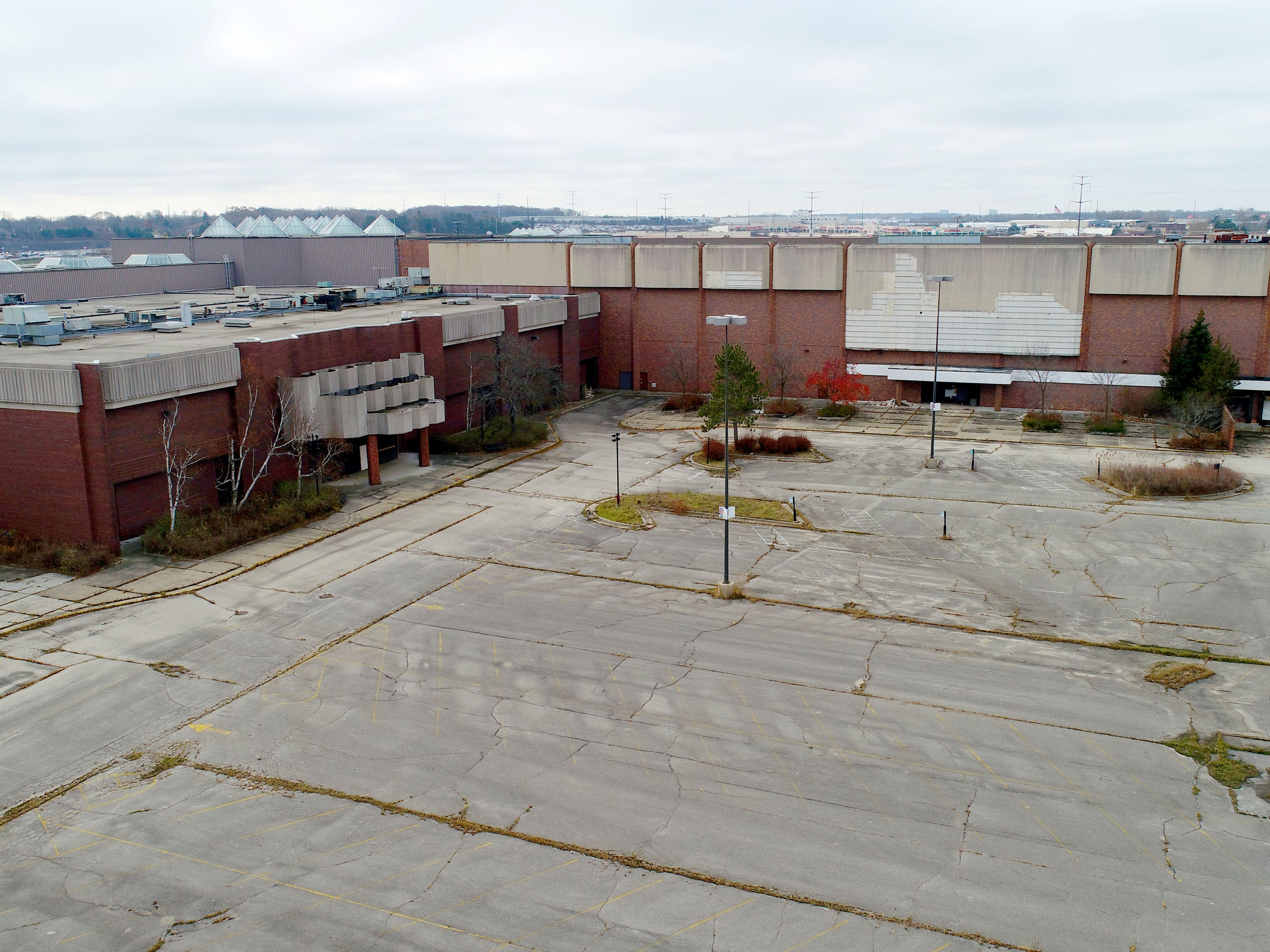November 2017: Milwaukee's former Northridge Mall on W. Brown Deer Road, looking southeast across the abandoned complex.