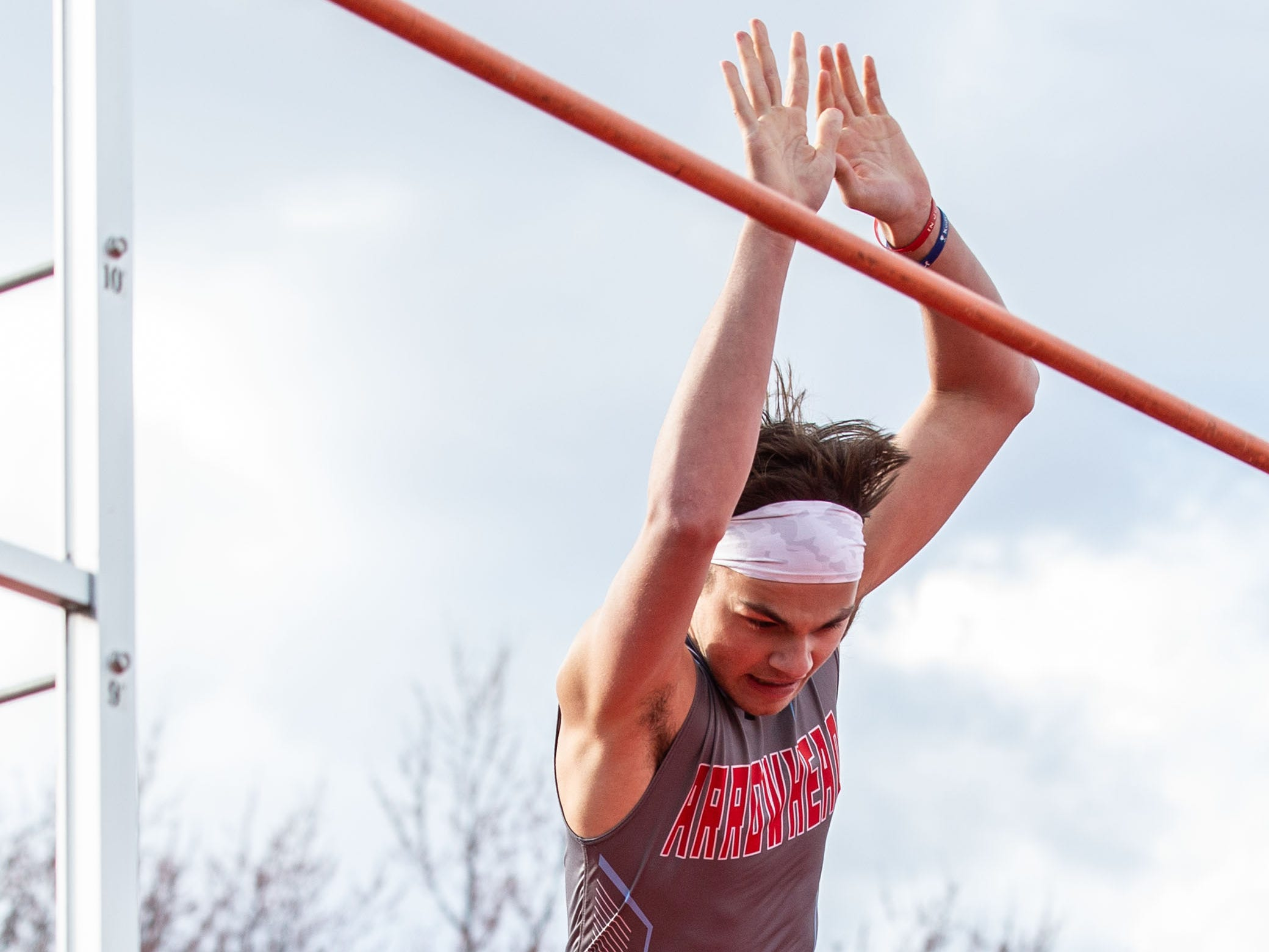 Arrowhead's Anthony Polentini competes in the pole vault during the Mike Gain 50th Annual Spartan Invitational at Brookfield East on Tuesday, April 9, 2019.