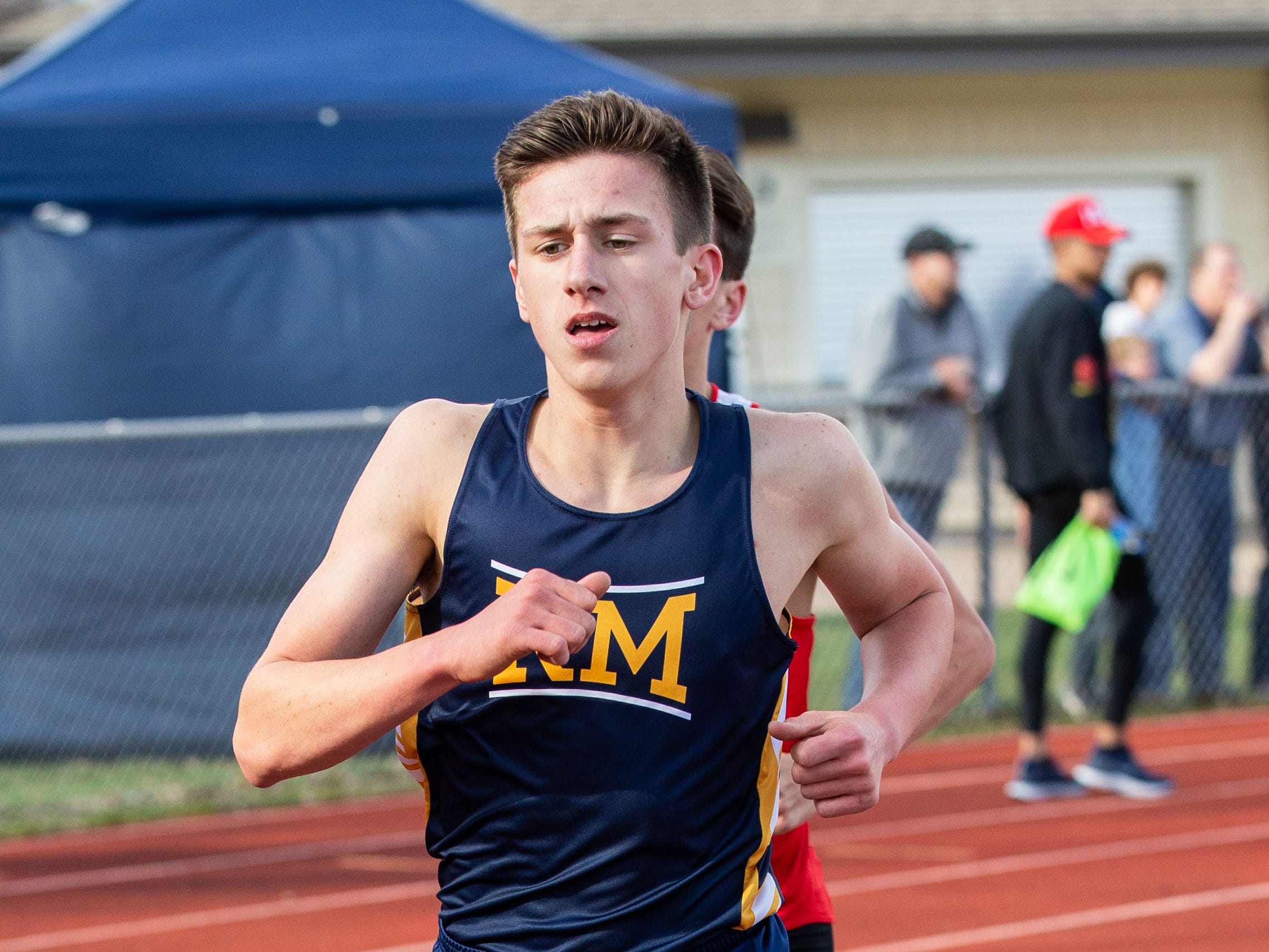 Kettle Moraine's Logan Elkin competes in the 1600 meter run during the Mike Gain 50th Annual Spartan Invitational at Brookfield East on Tuesday, April 9, 2019.