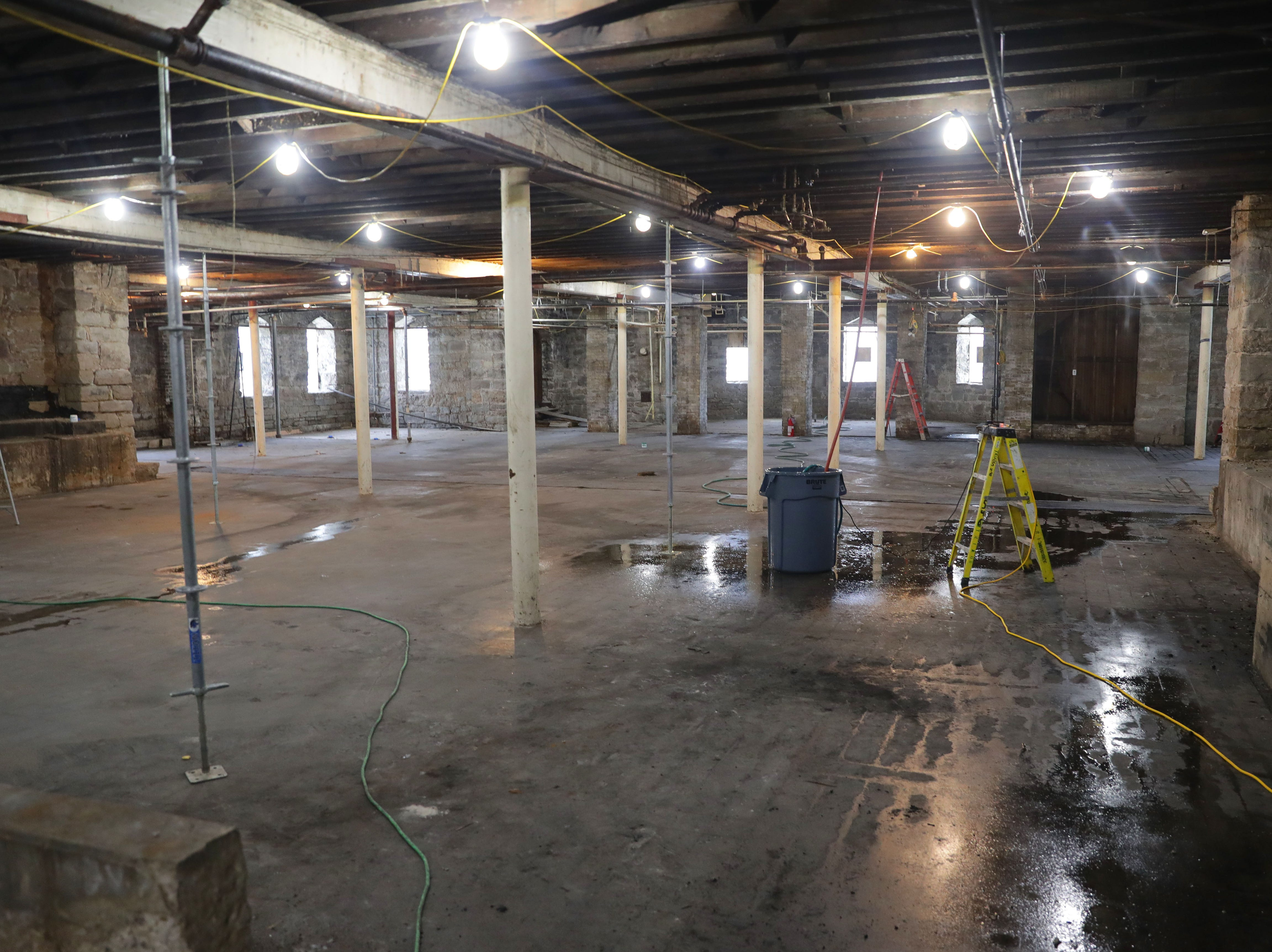 The basement area, where meeting space and classes were held before the fire is seen at Trinity Evangelical Lutheran Church  in Milwaukee.