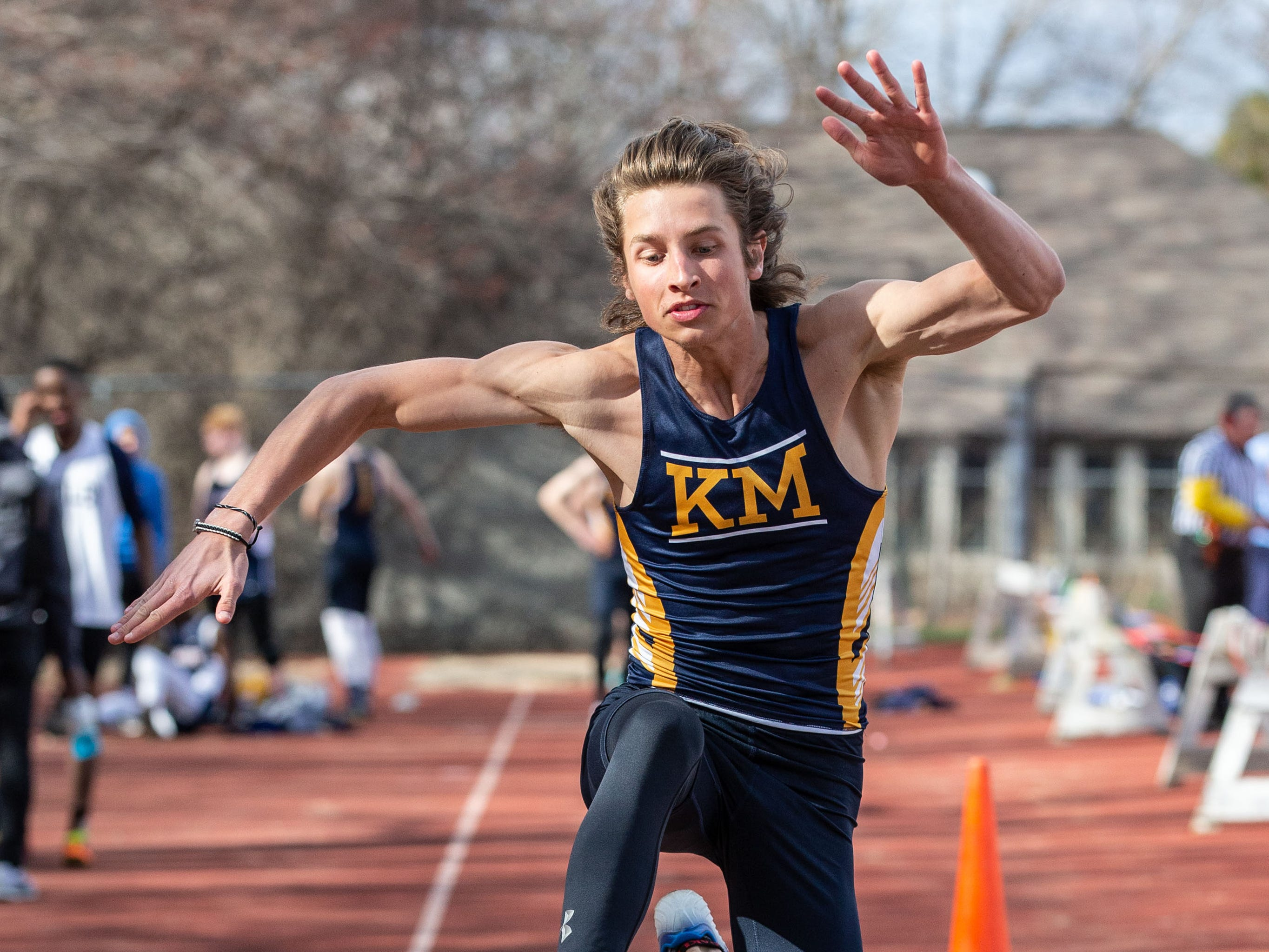 Kettle Moraine's Tyler Lien competes in the triple jump during the Mike Gain 50th Annual Spartan Invitational at Brookfield East on Tuesday, April 9, 2019.