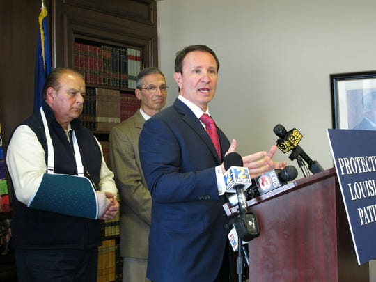 Attorney General Jeff Landry talks about health care legislation supported by House Speaker Taylor Barras, R-New Iberia, left, and sponsored by Sen. Fred Mills, R-Parks, on Monday, April 1, 2019, in Baton Rouge