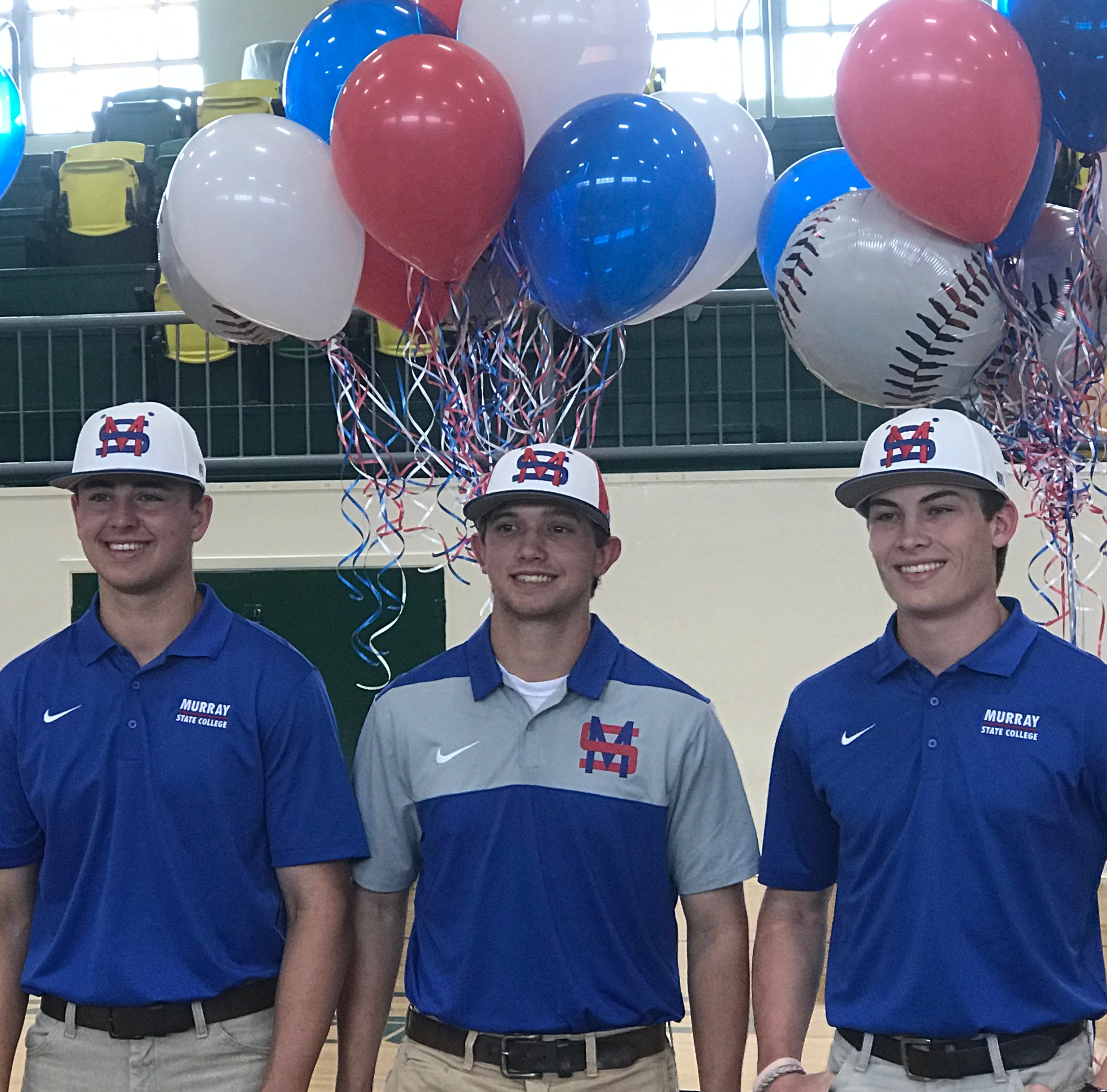 (Left to right) OCS baseball players Crew Wilson, Cadge Wallace and Bailey Burtram signed with Murray State College on Thursday.