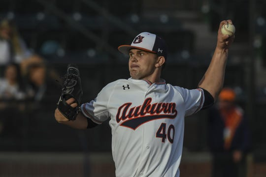 Auburn left-hander Garrett Wade pitches against Jacksonville State on Tuesday, April 9, 2019, in Auburn, Ala.
